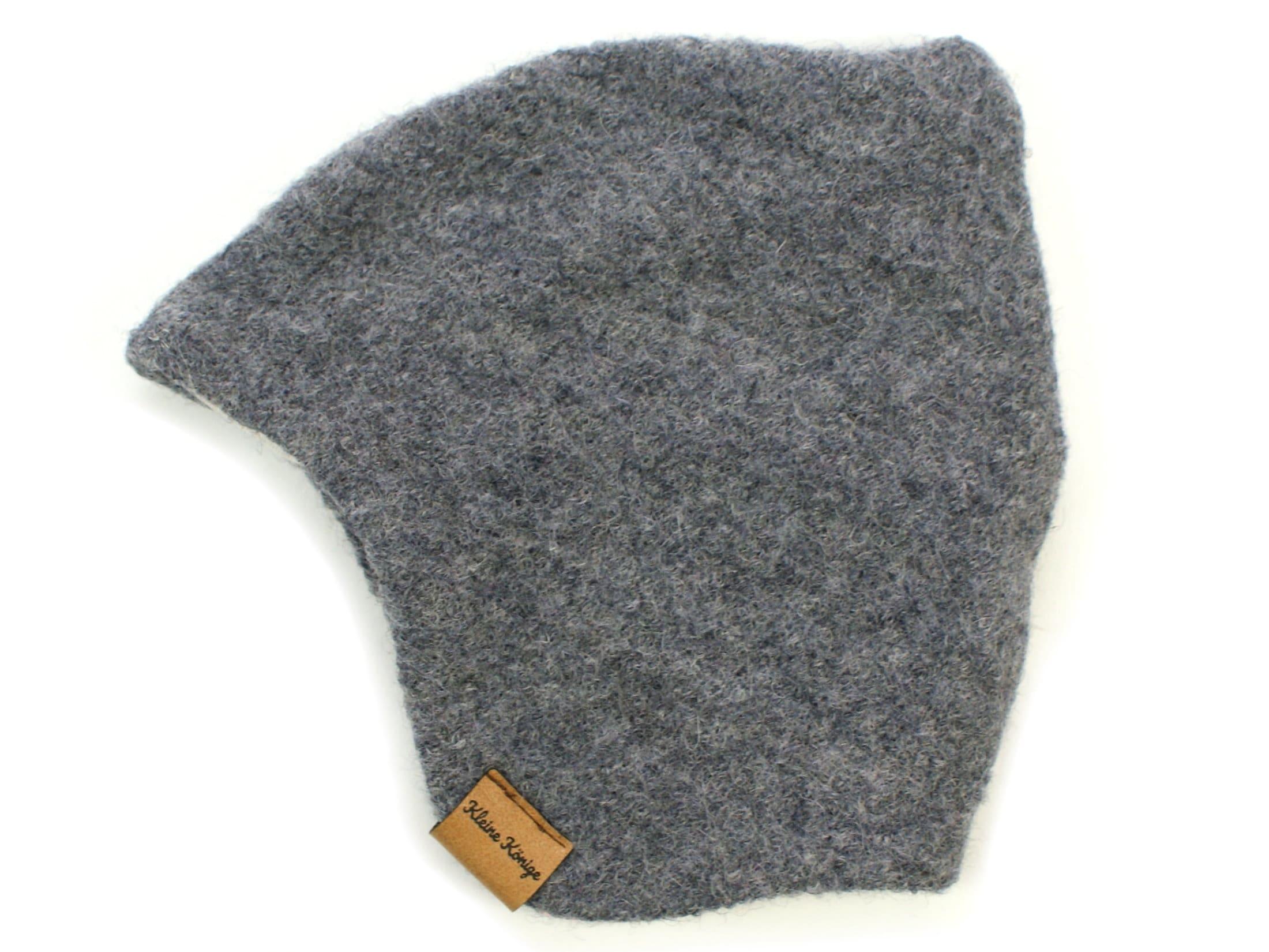 Walkmütze / Kindermütze aus Wollwalk in Grau