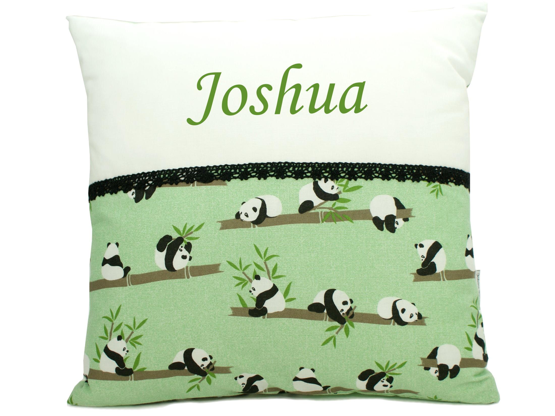 """Namenskissen """"Panda"""" in grün weiß mit Namen bestickt"""