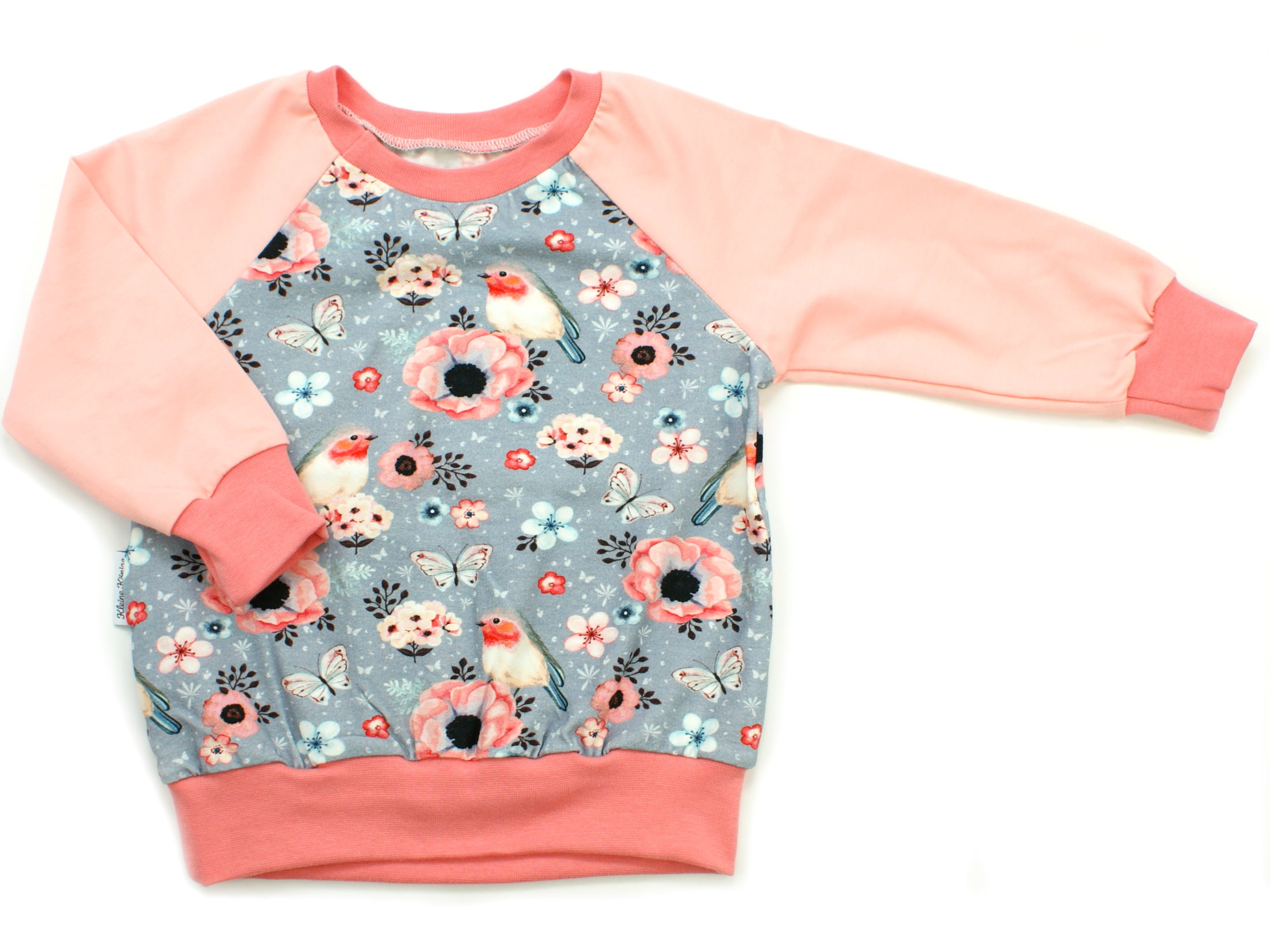 "Kinder Pullover Shirt Vögel ""Birds"" grau apricot"