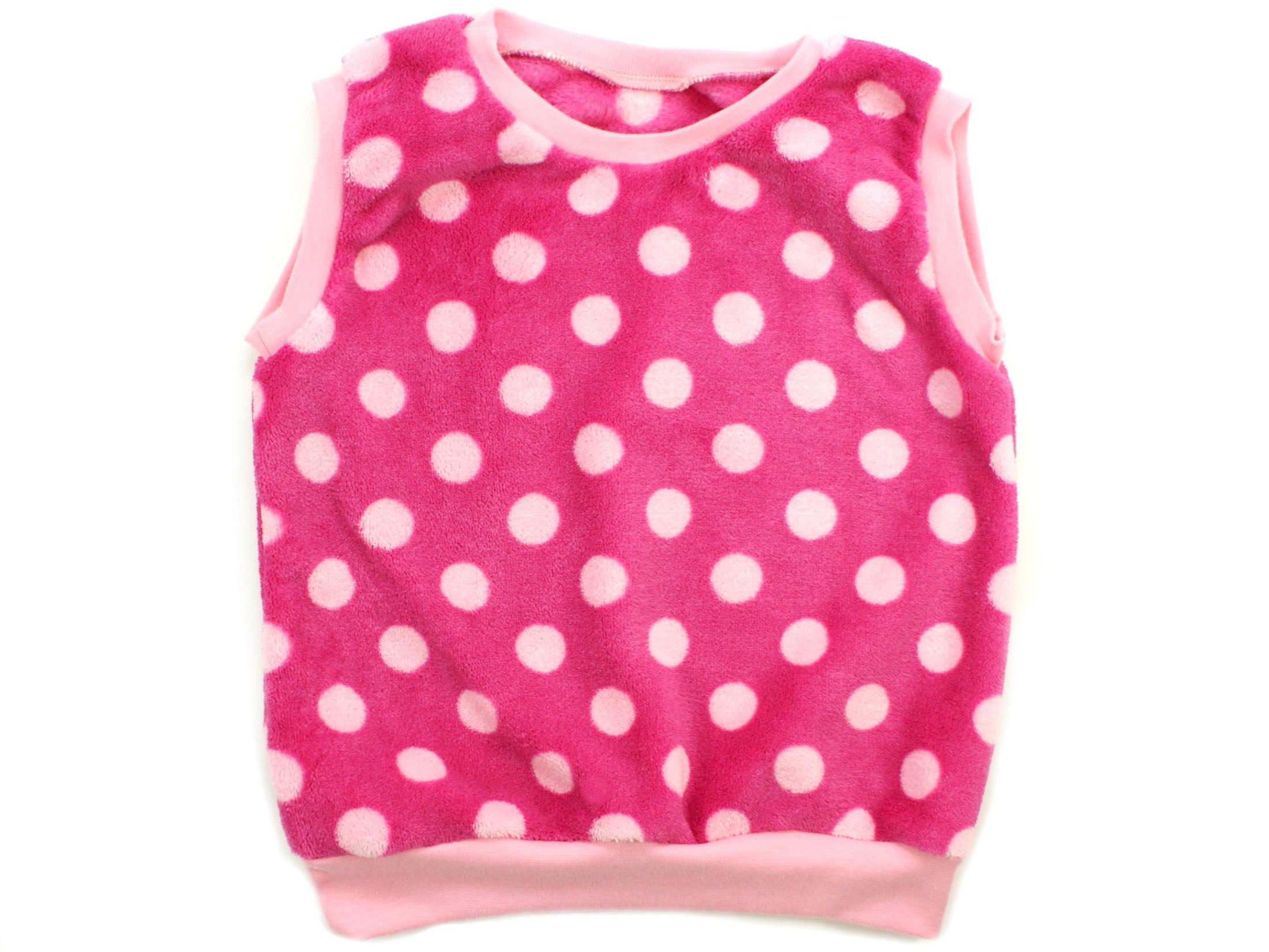 """Kinder Pullunder """"Große Punkte"""" rosa pink aus Kuschelfleece"""