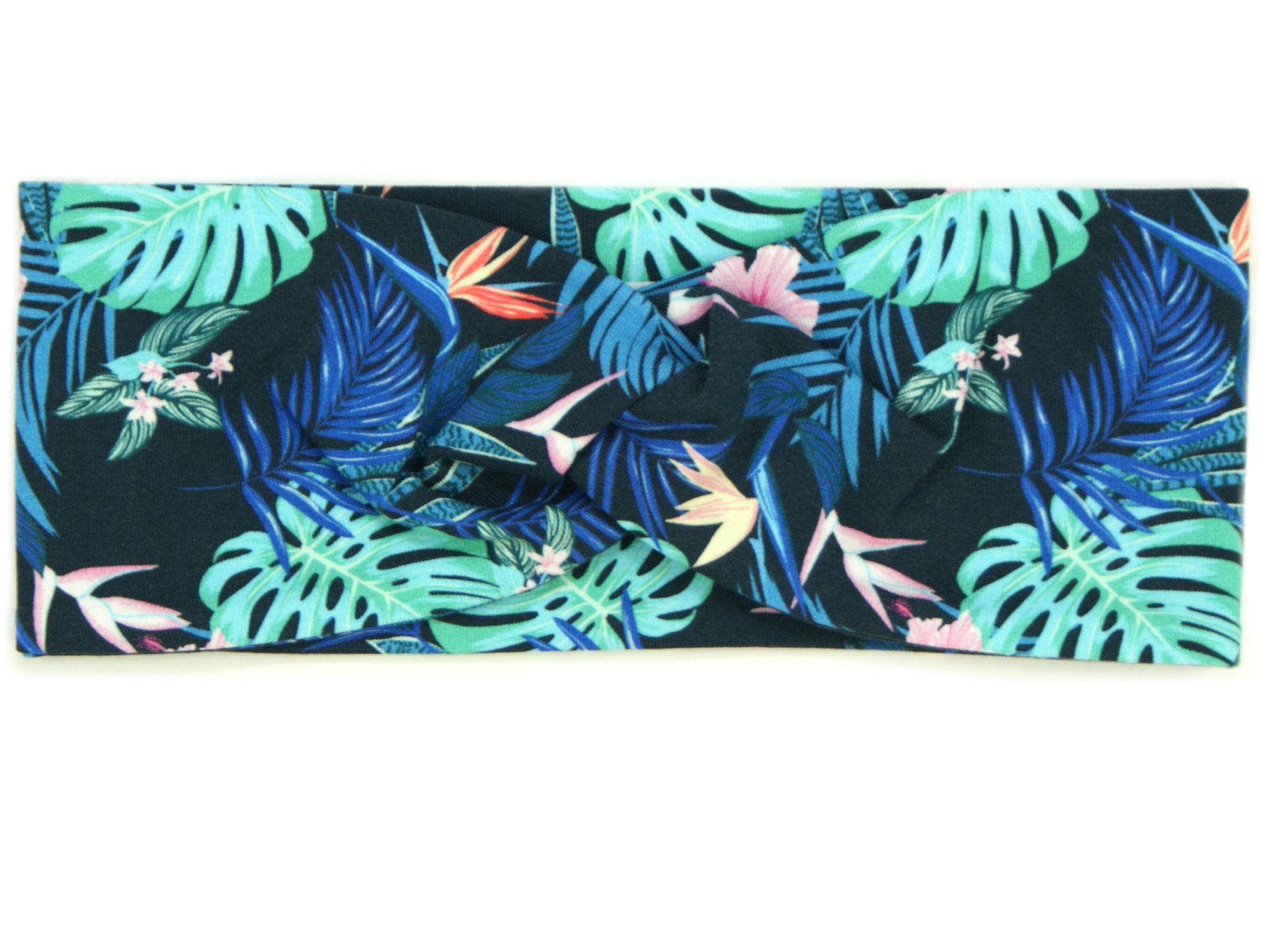 """Kinder Haarband Stirnband """"Tropic"""" marineblau rosa"""