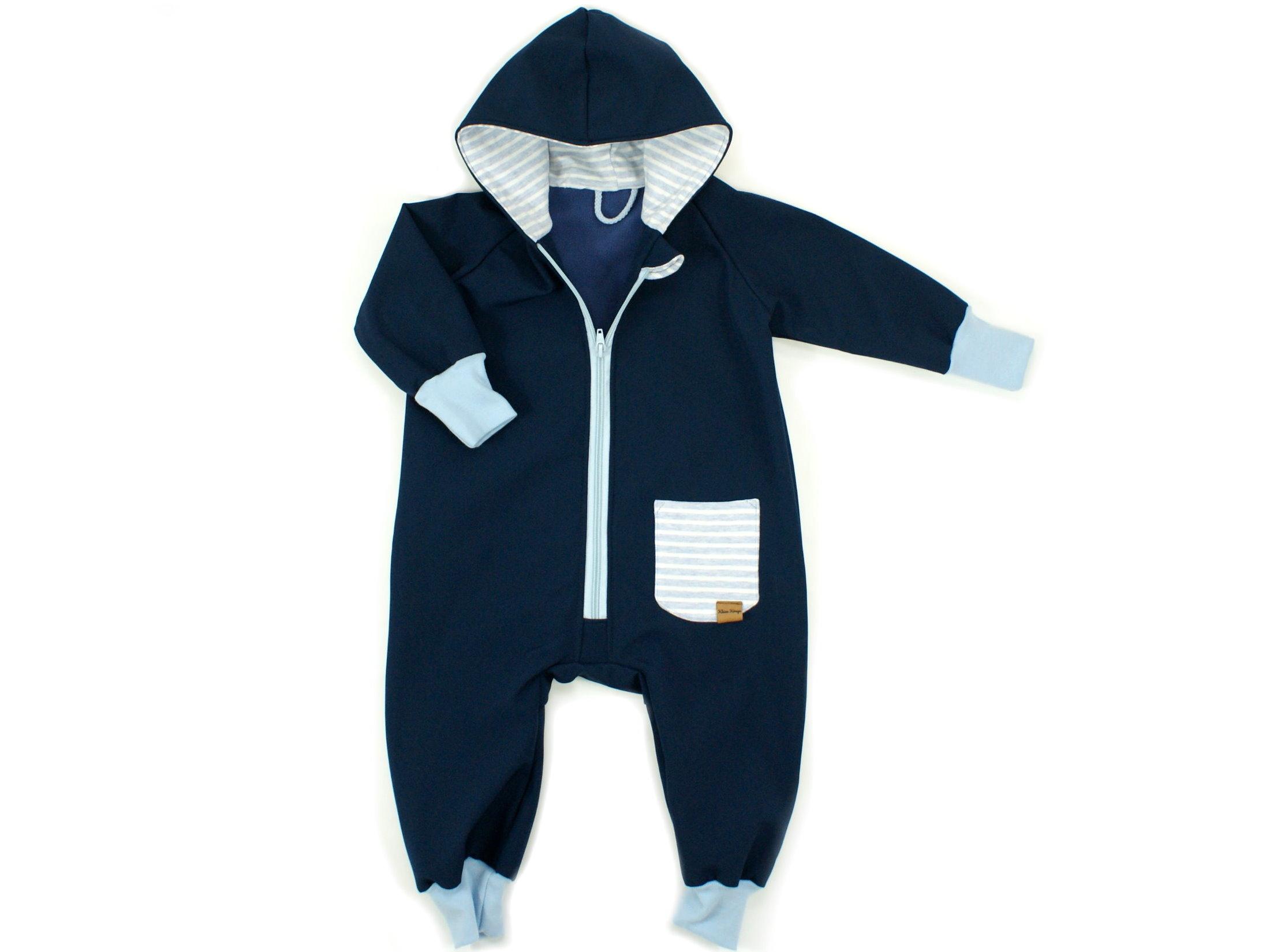 """Softshelloverall Anzug """"Uni"""" marineblau mit Tasche"""