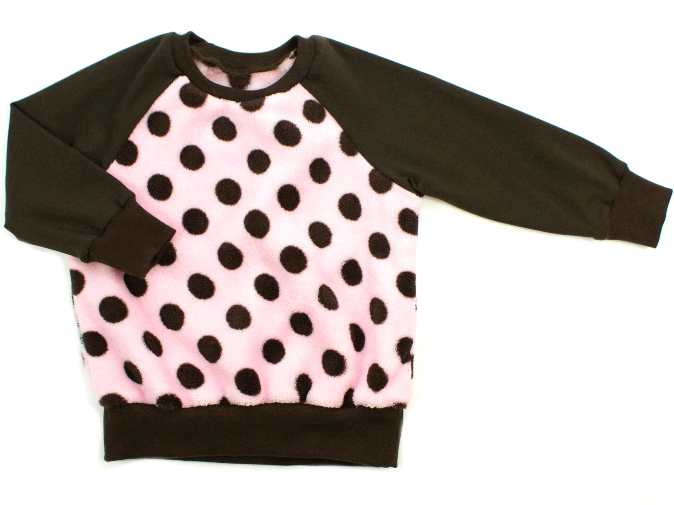 """Kinder Pullover """"Große Punkte"""" rosa braun aus Kuschelfleece"""