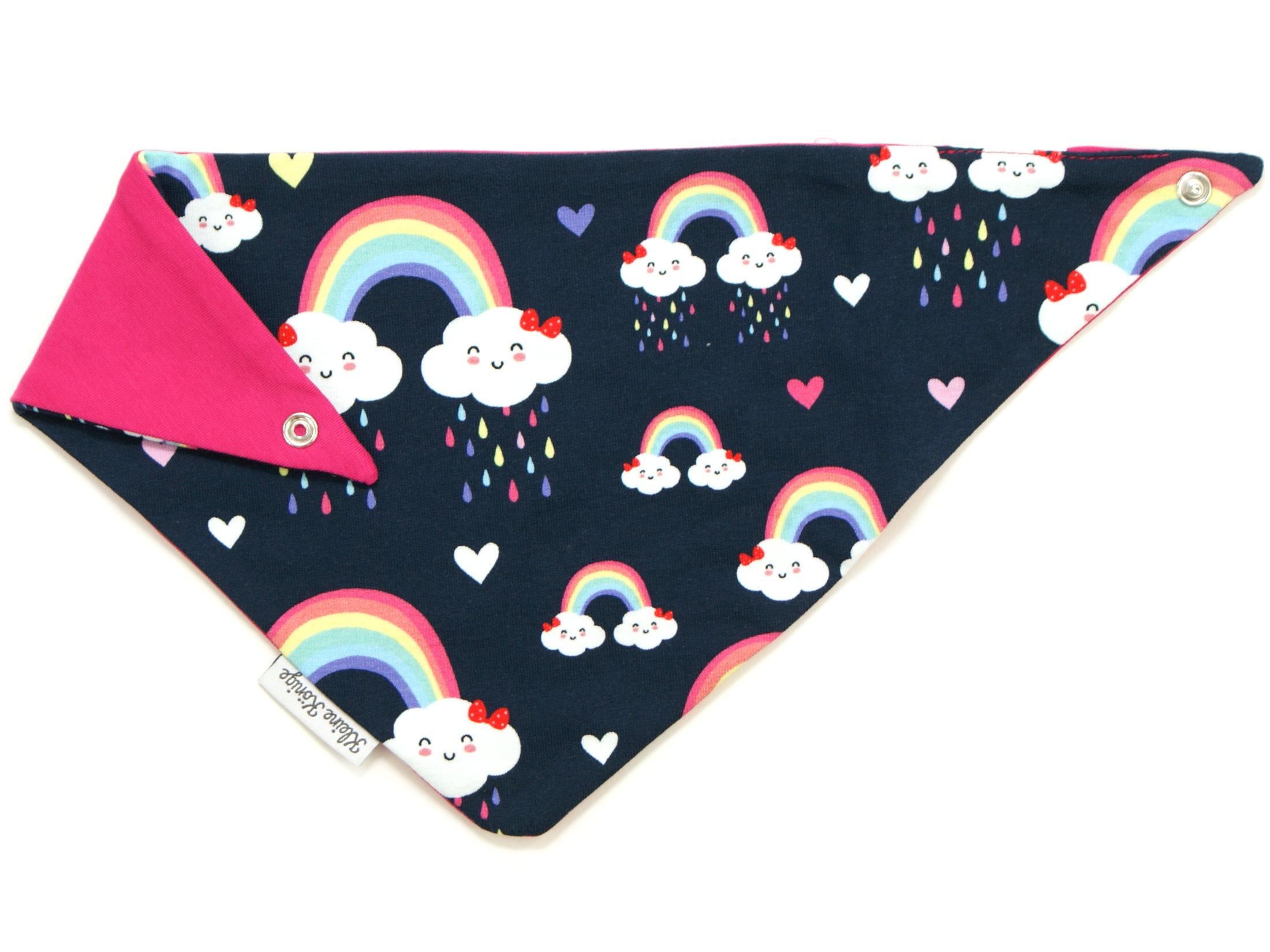 "Baby Wende-Halstuch ""Cloudy Rainbow"" marineblau rosa"