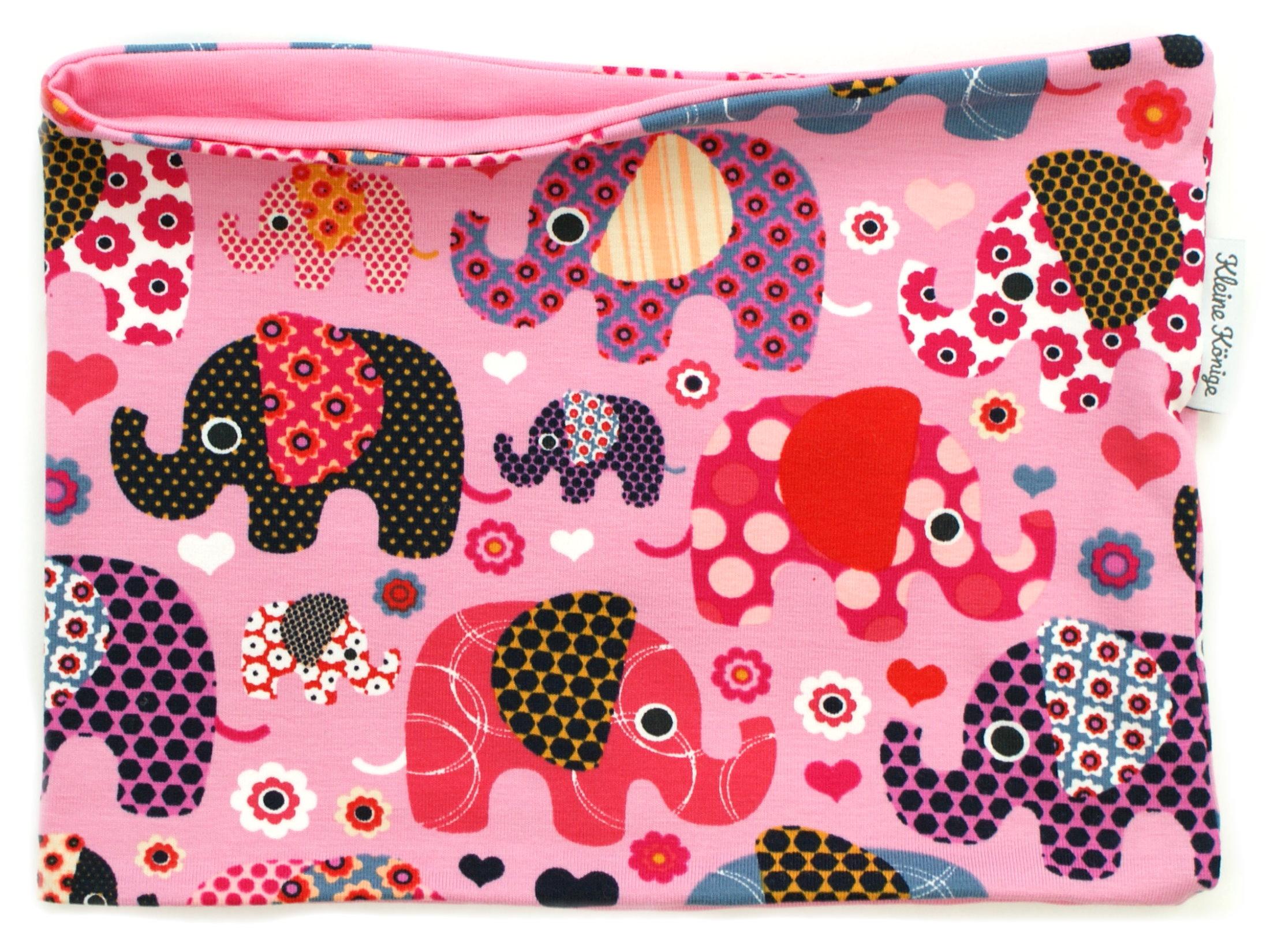 """Kinderloop Schal """"Elefantenparty"""" rosa beere"""