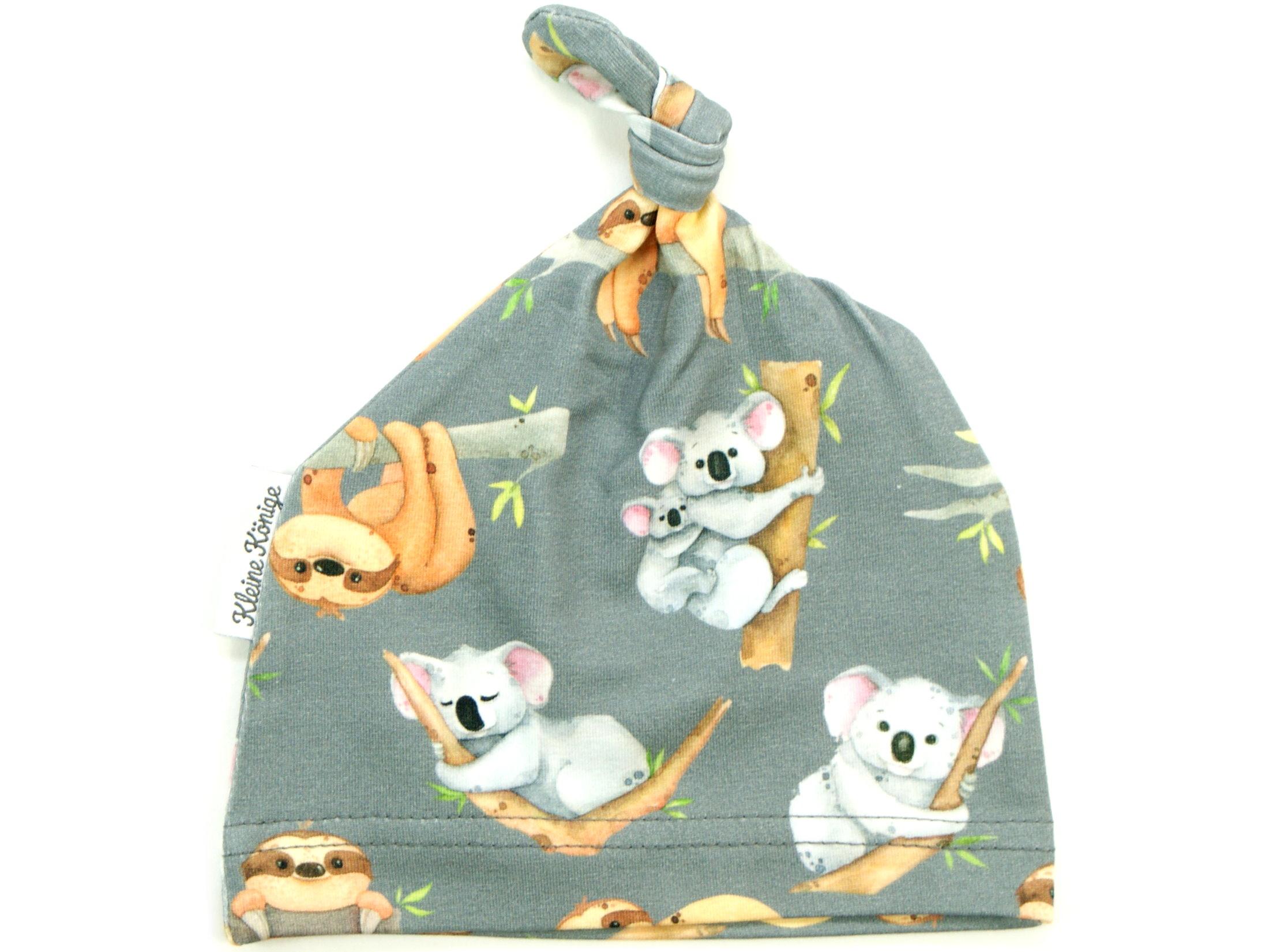 """Babymütze Knotenmütze """"Koala & Faultier"""" grau"""