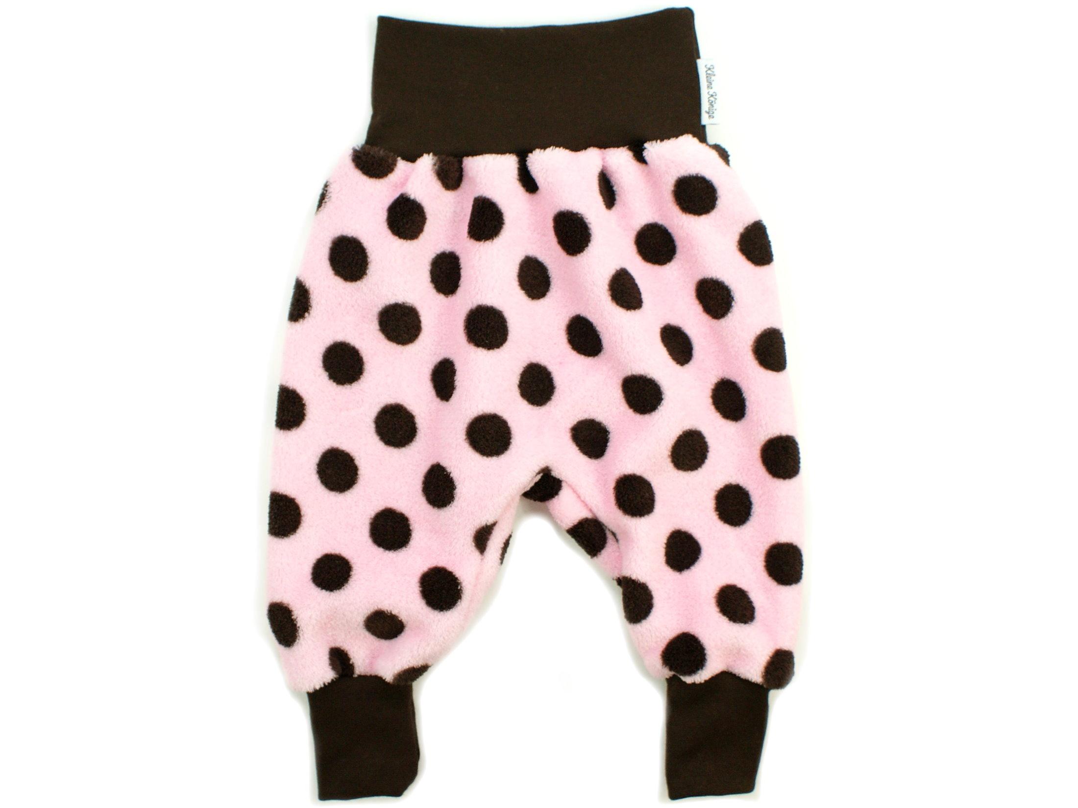 """Baby Fleecehose """"Große Punkte"""" rosa braun aus Kuschelfleece"""