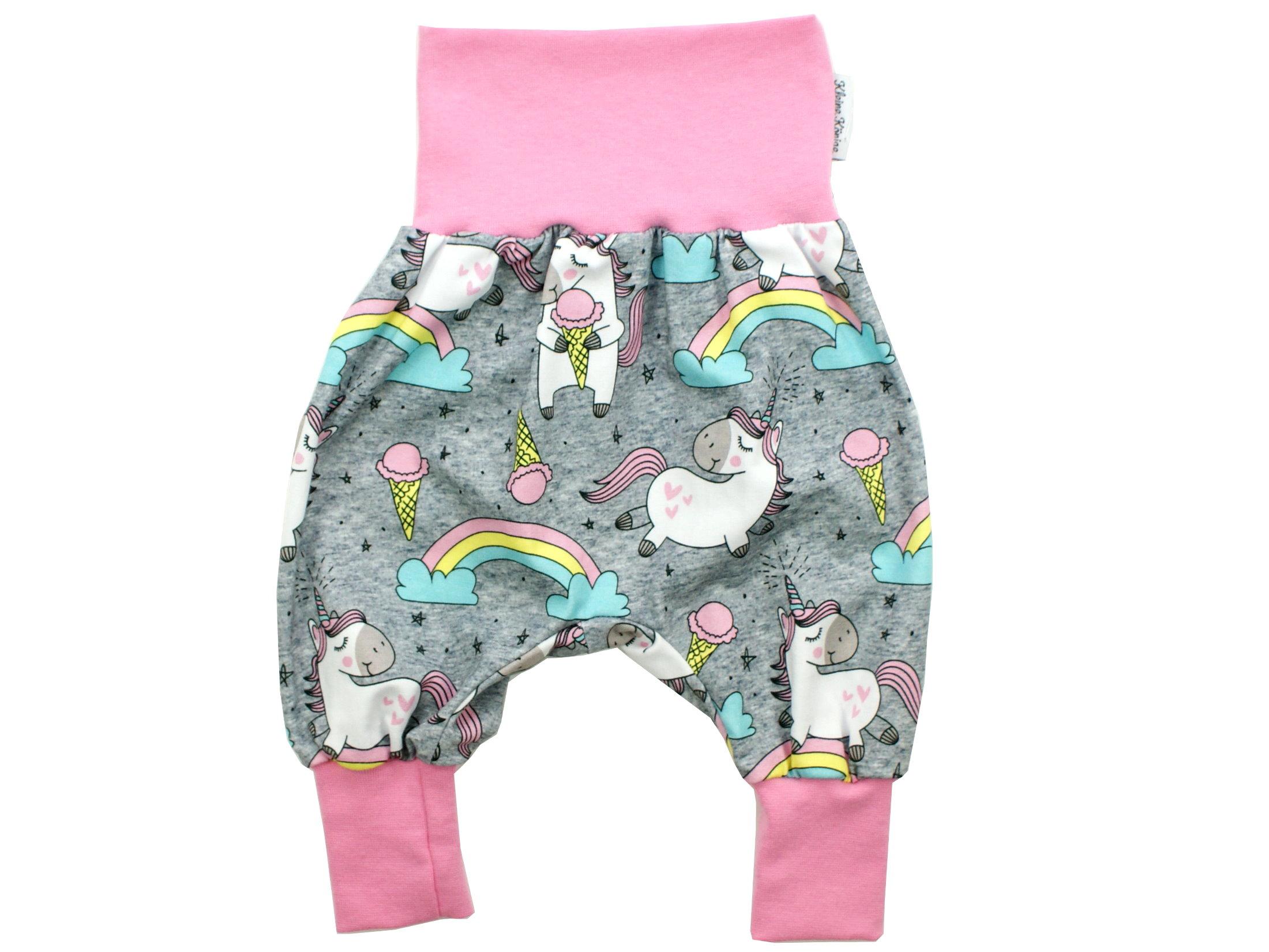 """Baby Pumphose Einhorn """"Happy Unicorn"""" grau rosa"""