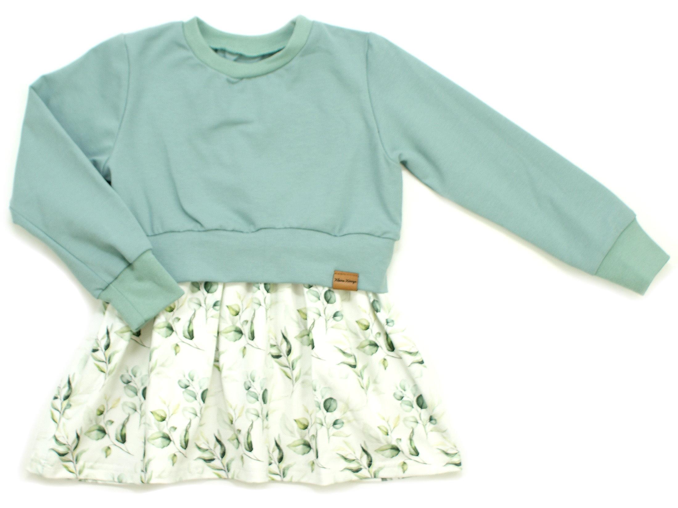 "Girly Dress Kinderkleid ""Eukalyptus"" mint weiß"