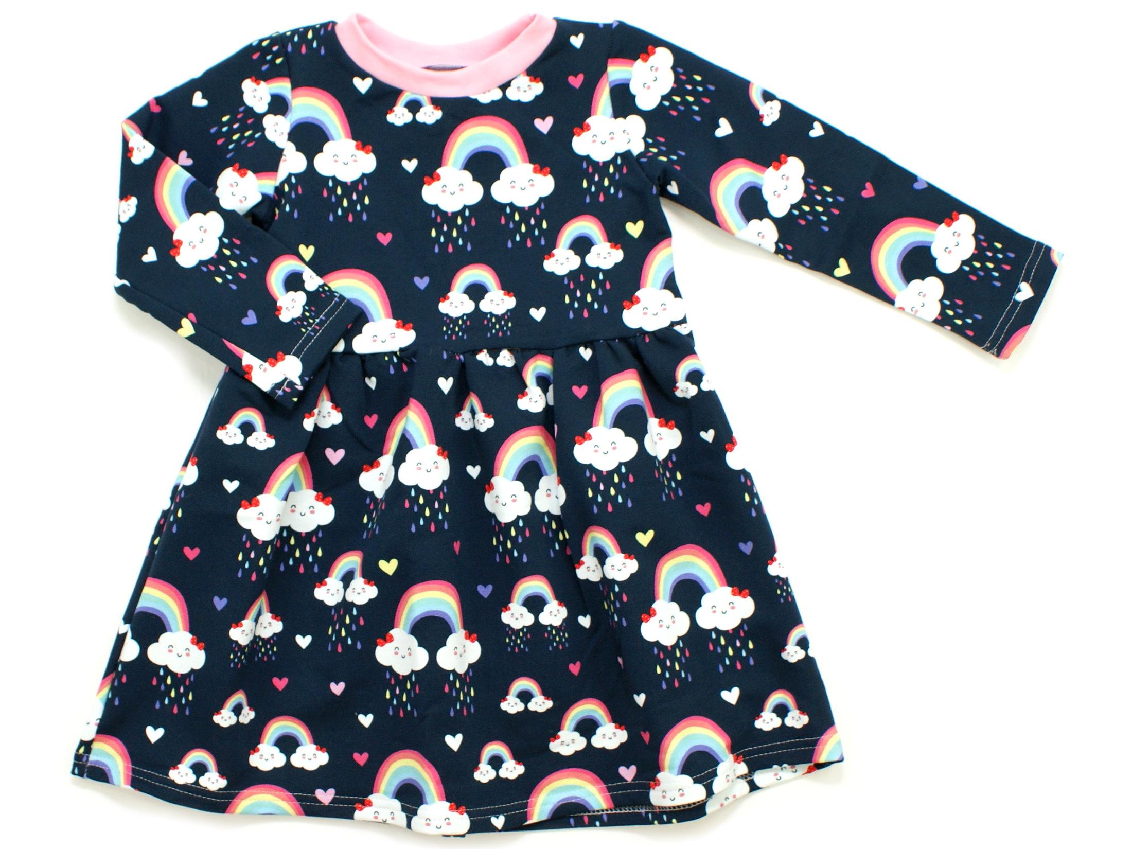 """Kinderkleid Tunika """"Cloudy Rainbow"""" marineblau rosa"""