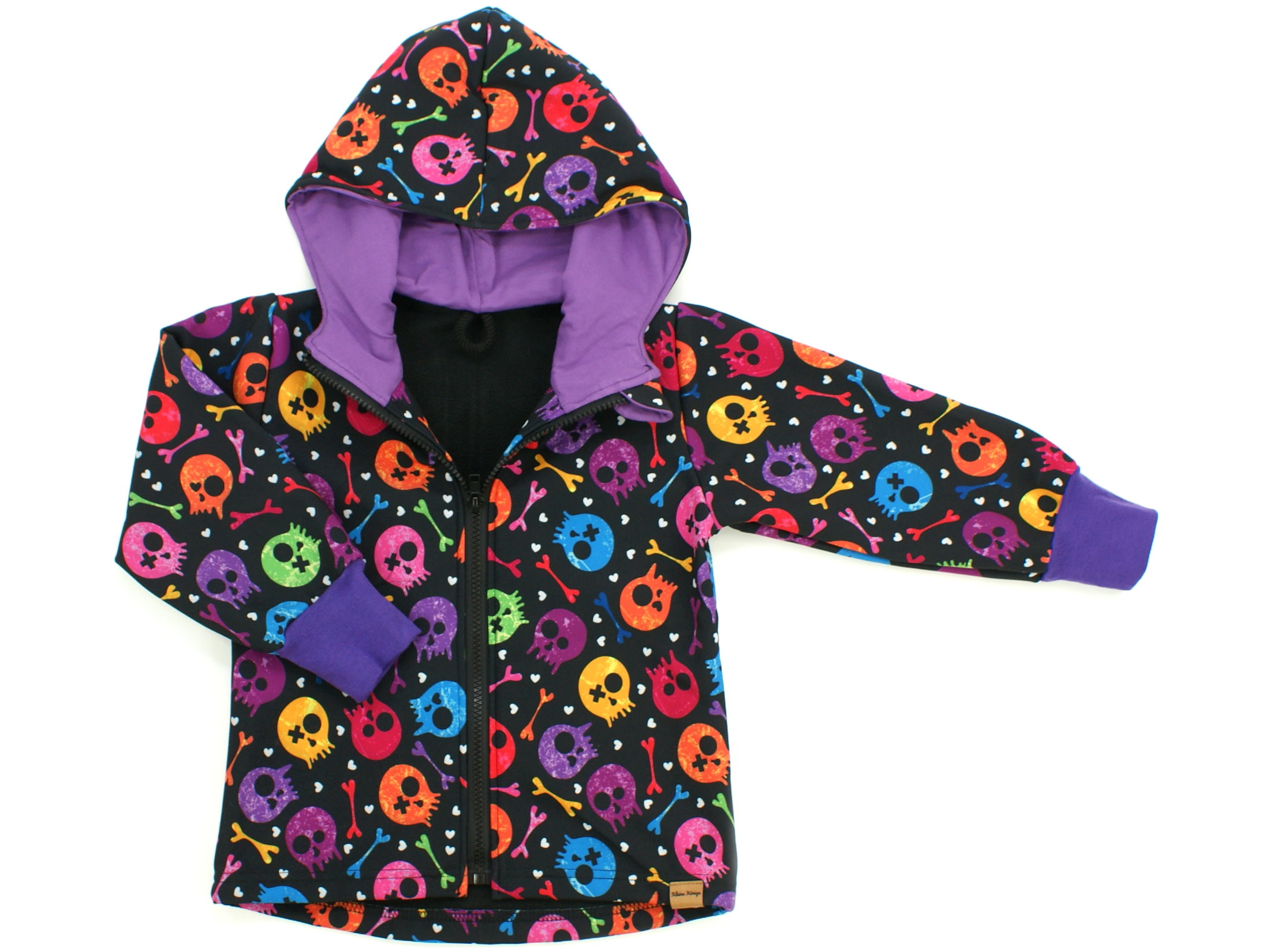 "Kinder Softshell-Jacke ""Colourful Skulls"" lila schwarz"