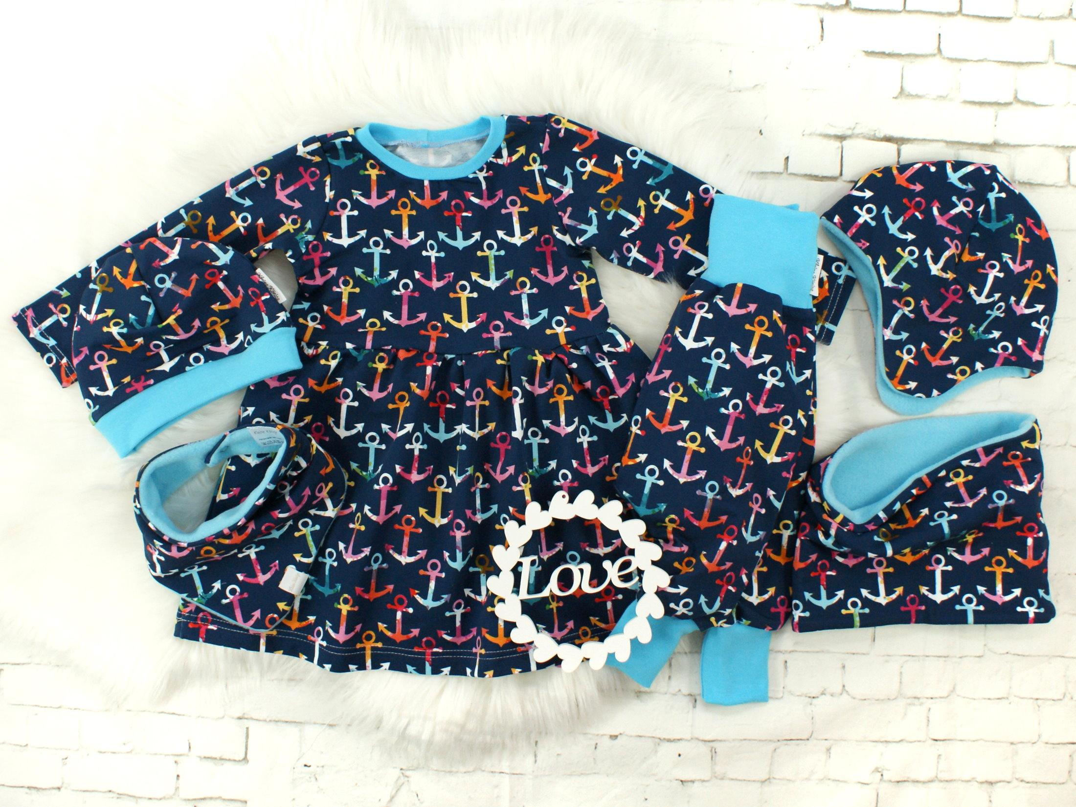 """Baby Pumphose """"Bunte Anker"""" blau türkis"""