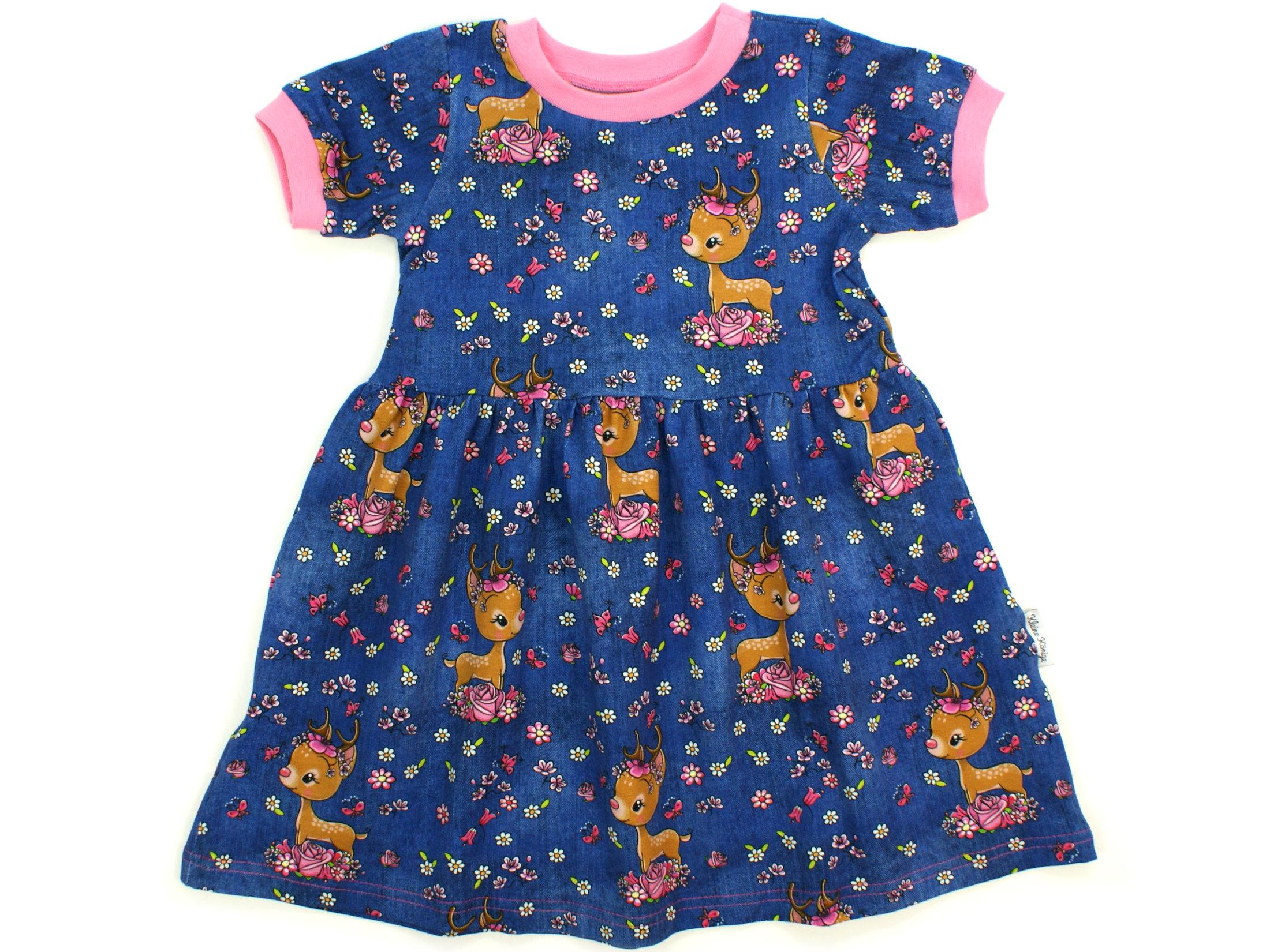 """Kinderkleid Tunika Reh """"Bloomy Bambi"""" jeansblau rosa"""