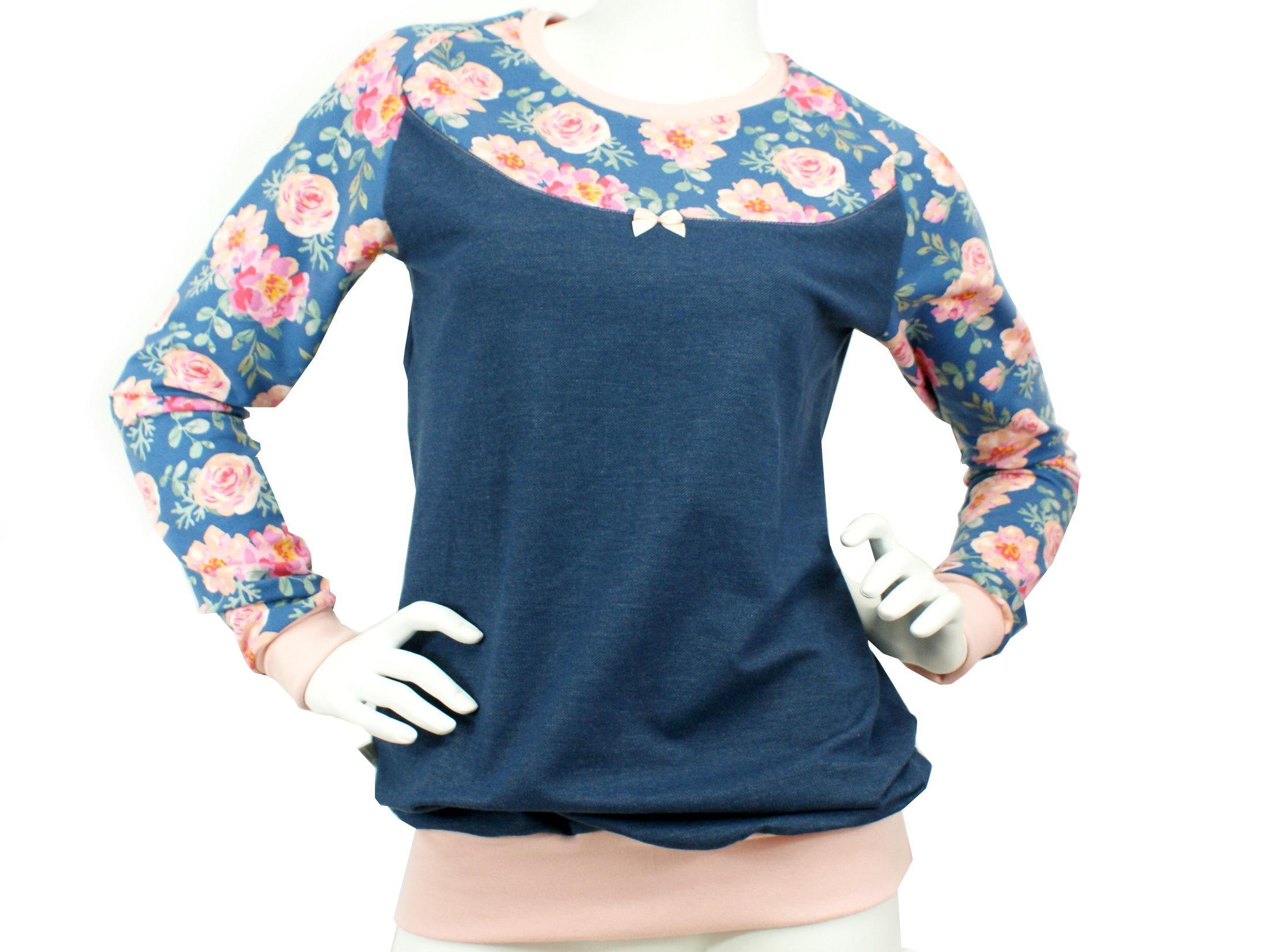 "Damen Shirt Pullover Rosen ""Peony"" blau rosé"