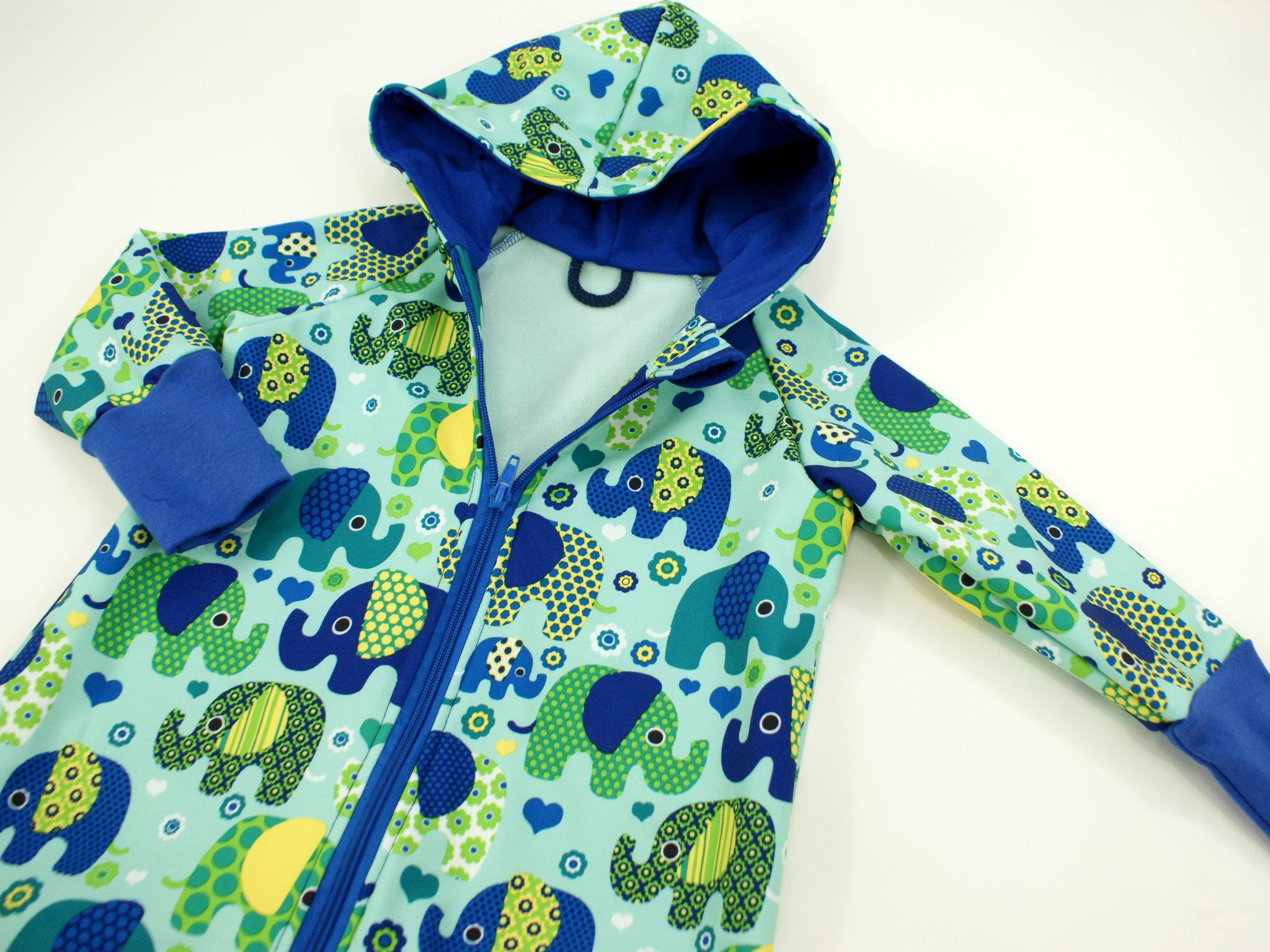 "Softshelloverall Anzug ""Elefantenparty"" blau türkis"