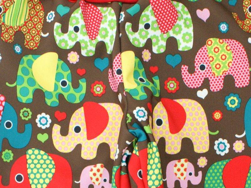 "Kinder Softshell-Hose ""Elefantenparty"" rot braun"
