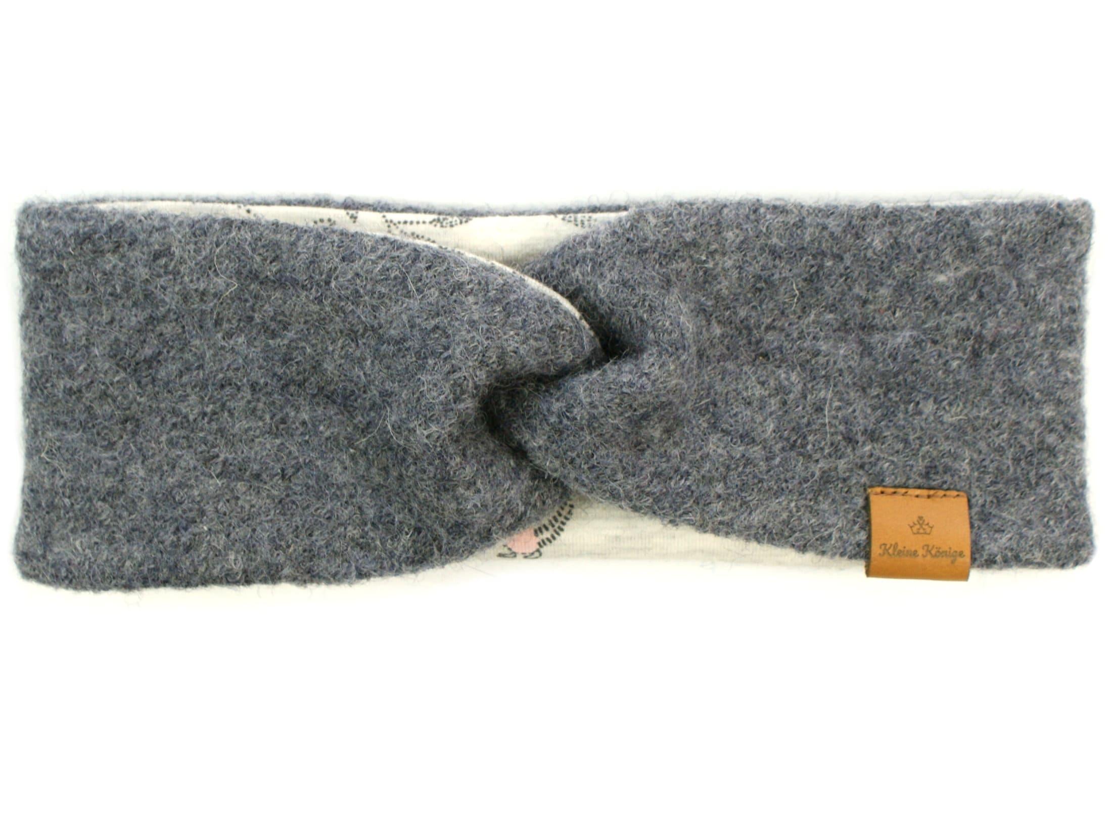 Walk Kinder Stirnband Haarband aus Wollwalk in Grau