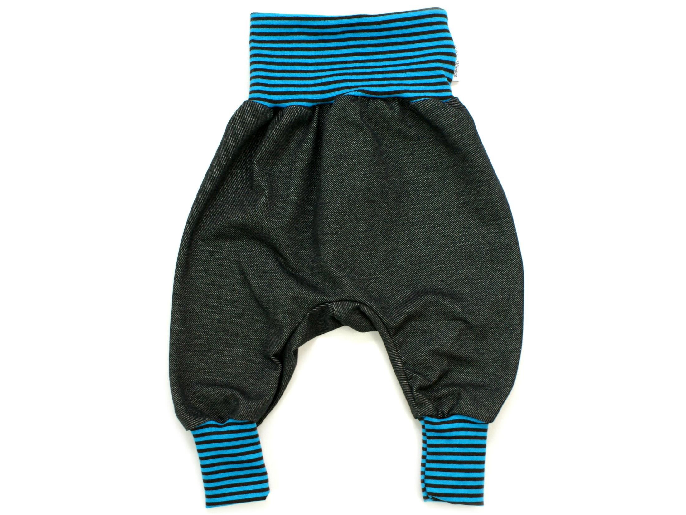 Baby Pumphose Denim Streifen türkis schwarz