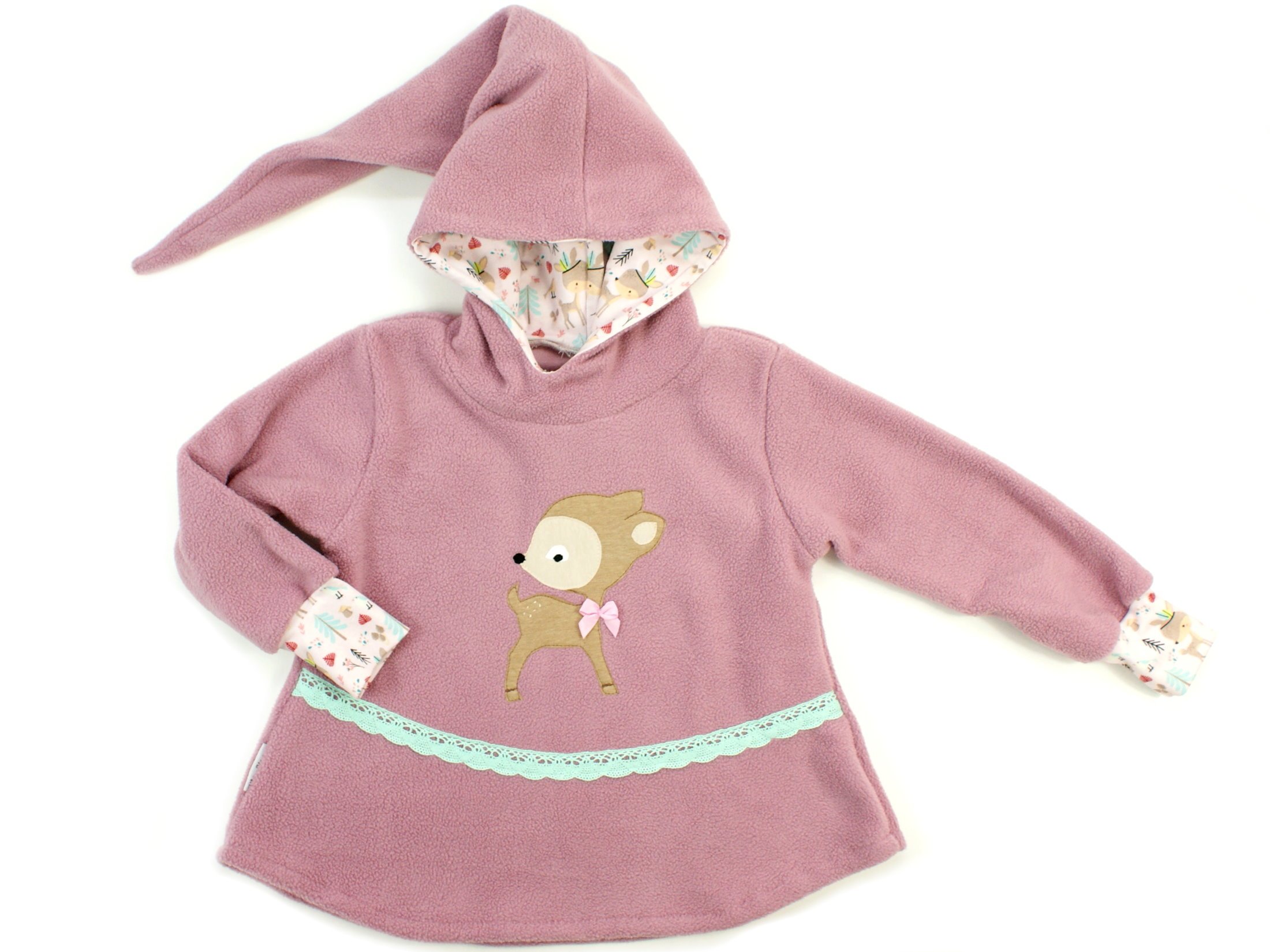 "Kinder Fleecepullover mit Zipfelkapuze Boho ""Reh"" beige rosa"