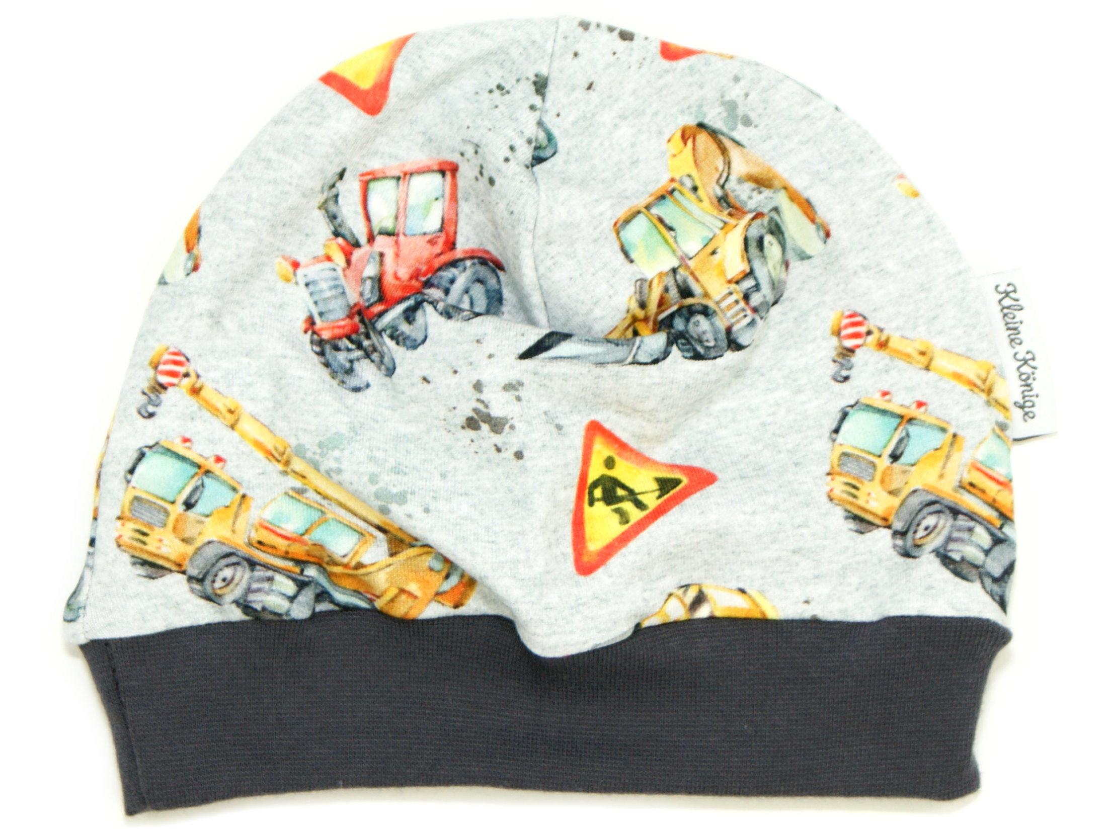 """Kindermütze Traktor Bagger """"Danger Zone"""" grau"""