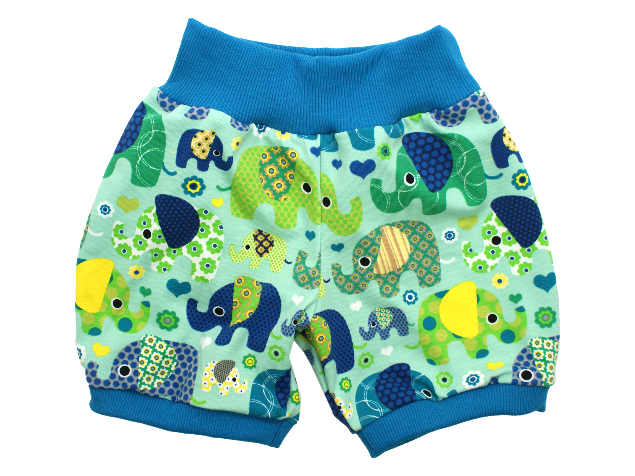 """Kinder Sommer Shorts """"Elefantenparty"""" türkis"""