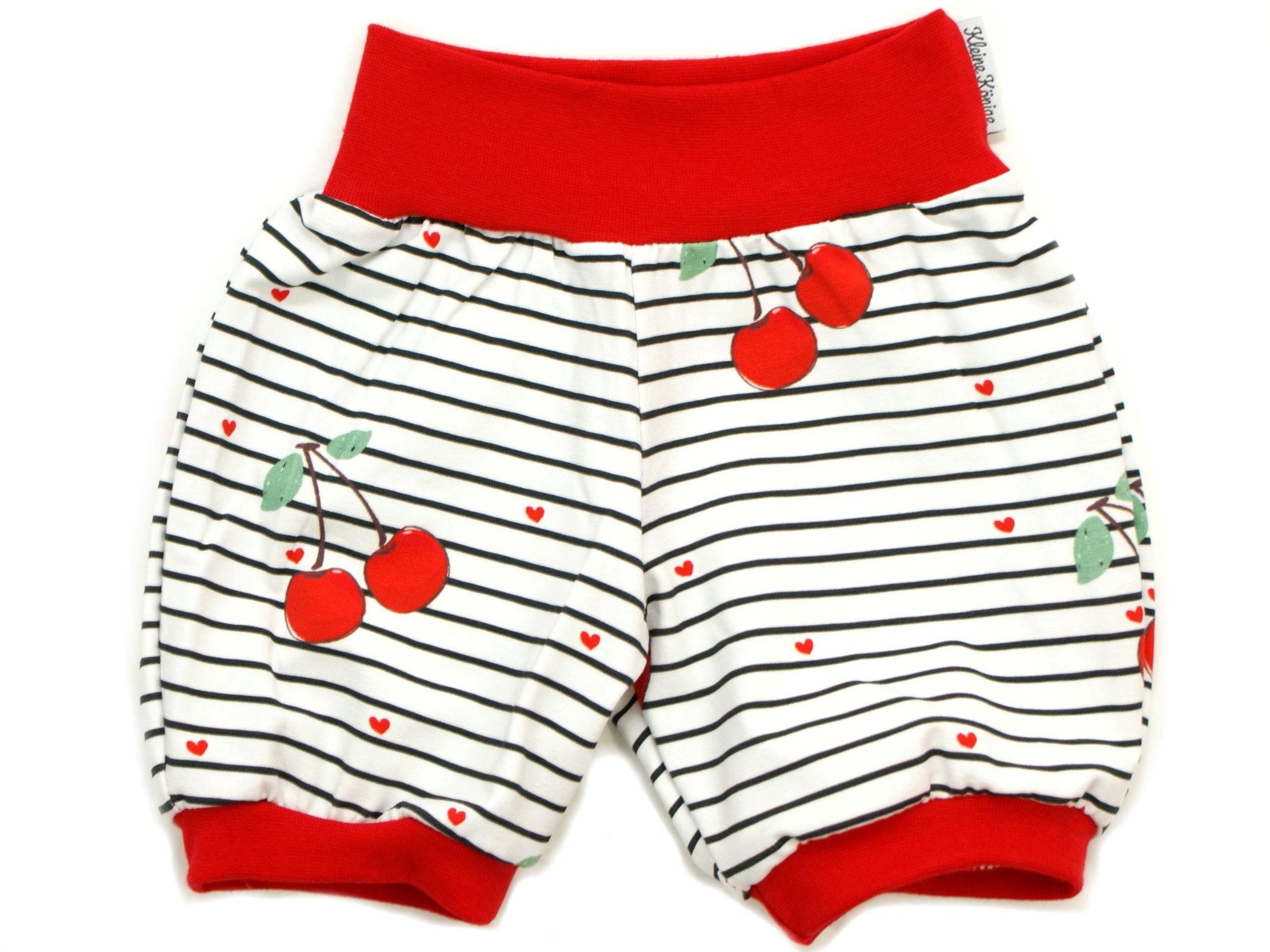 """Kinder Sommer Shorts Kirschen """"Cherry"""" Streifen rot"""