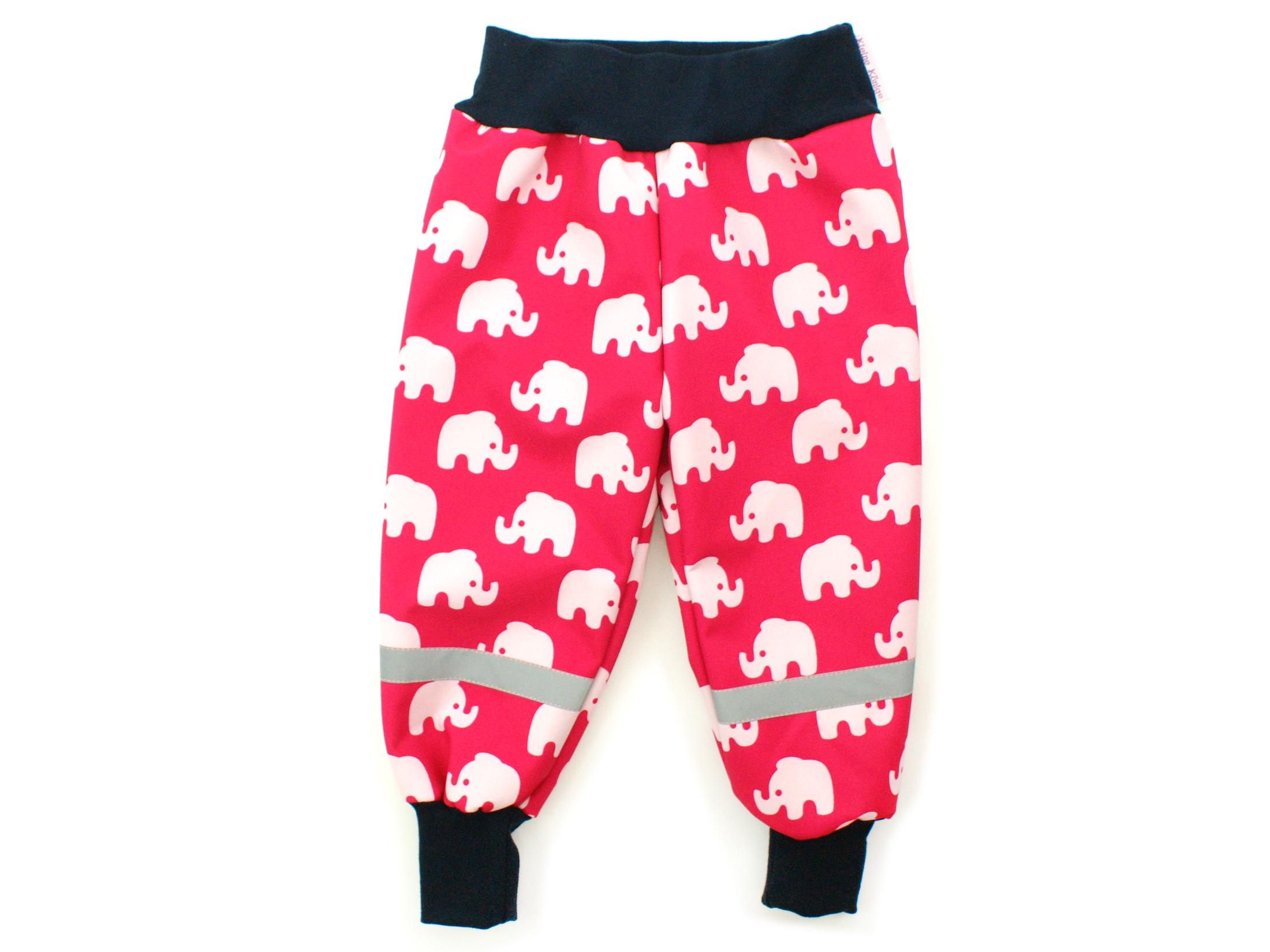 """Kinder Softshell-Hose """"Elefanten"""" pink marineblau"""