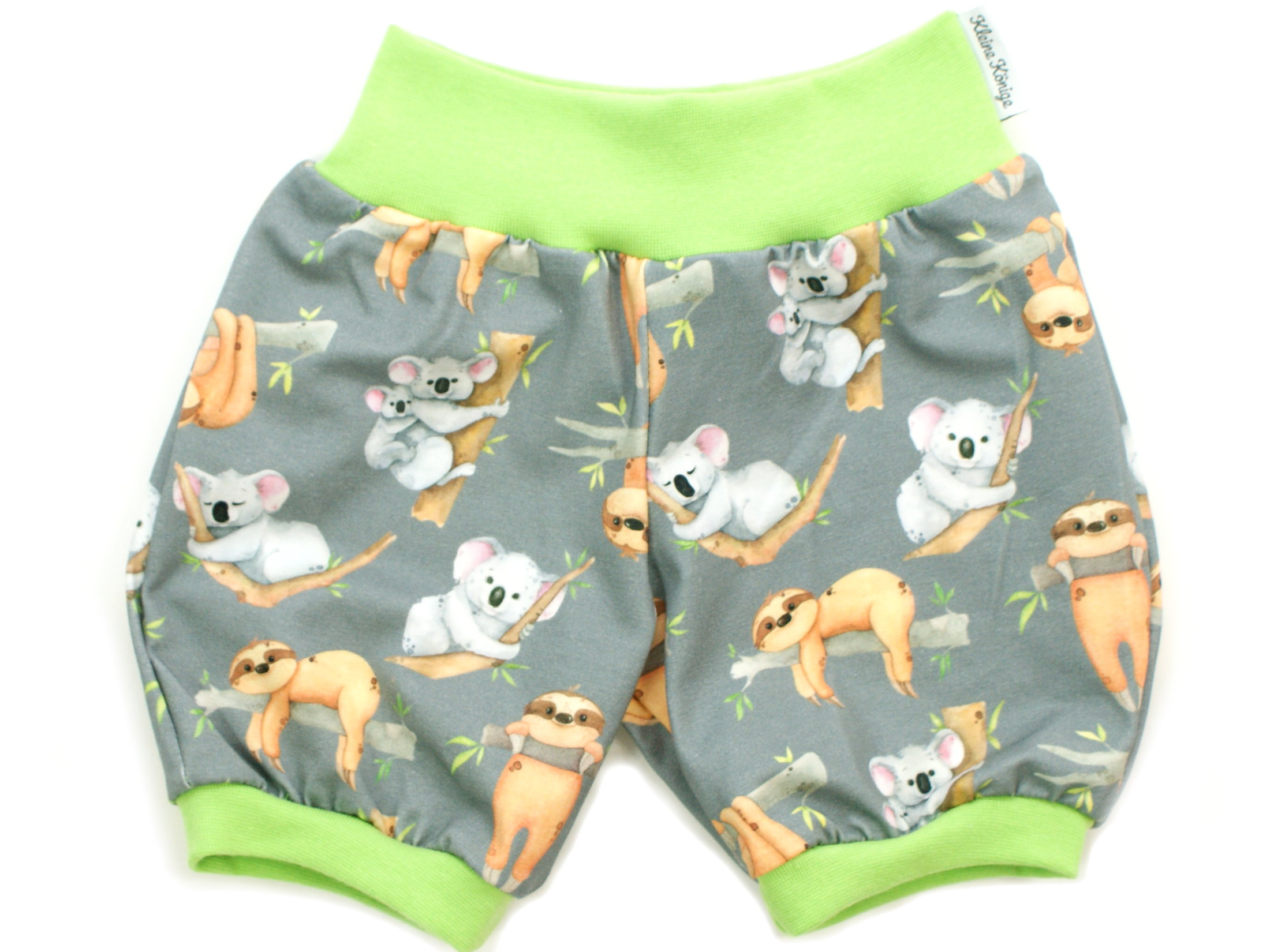 "Kinder Sommer Shorts ""Koala & Faultier"" grau lemon"