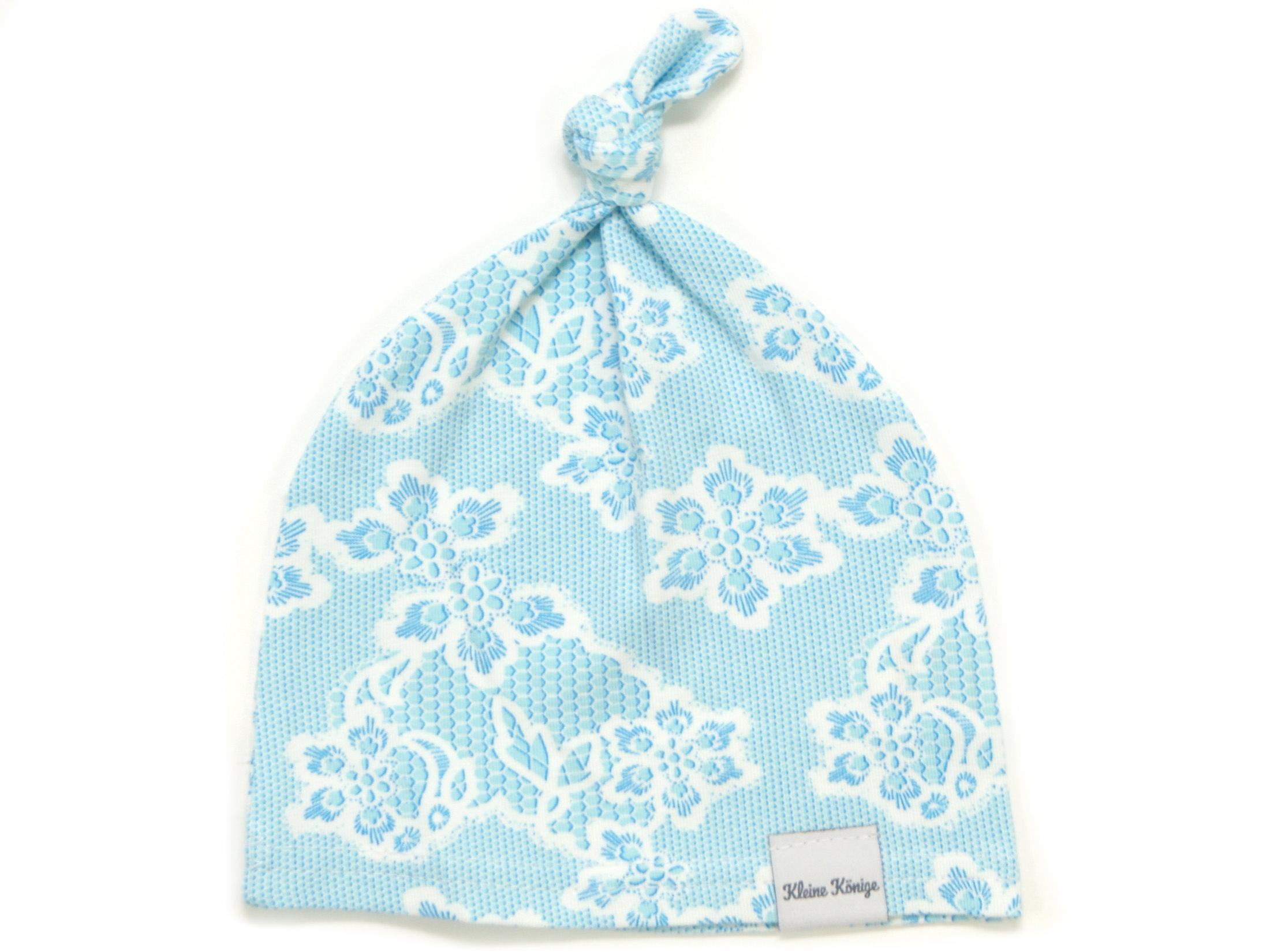 "Babymütze Knotenmütze ""Lacy Blue"" hellblau weiß"