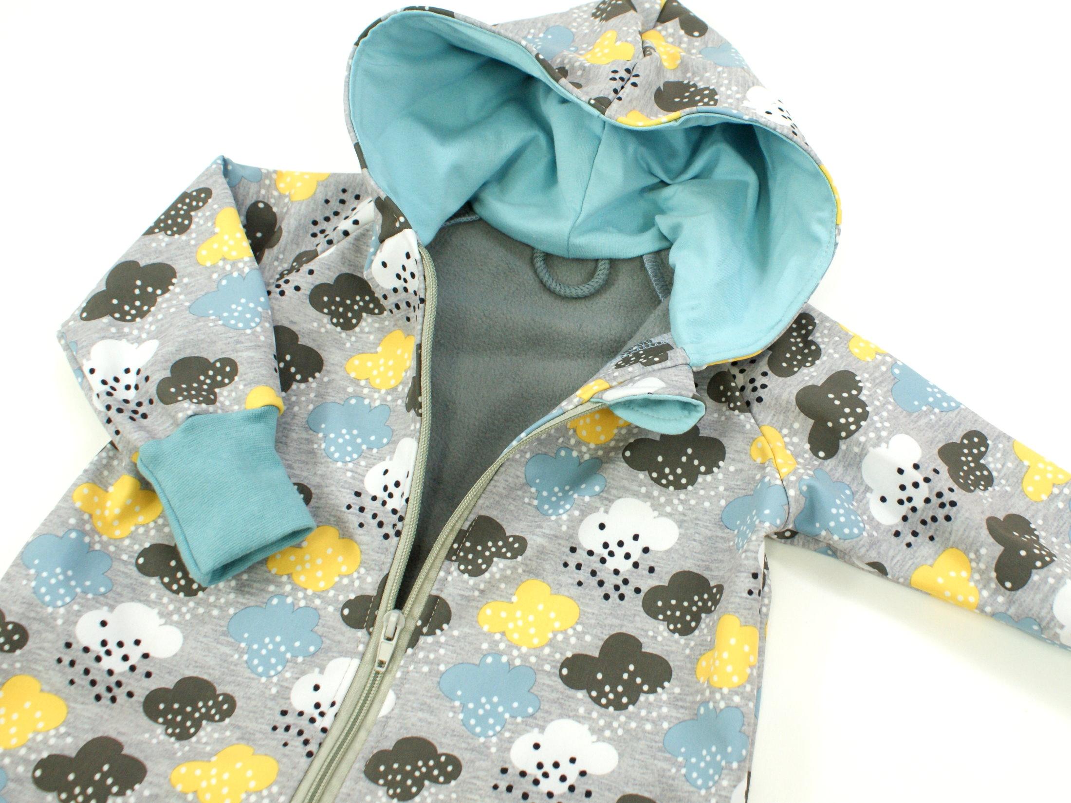 """Softshelloverall Anzug Wolken """"Raindrops"""" grau blau"""