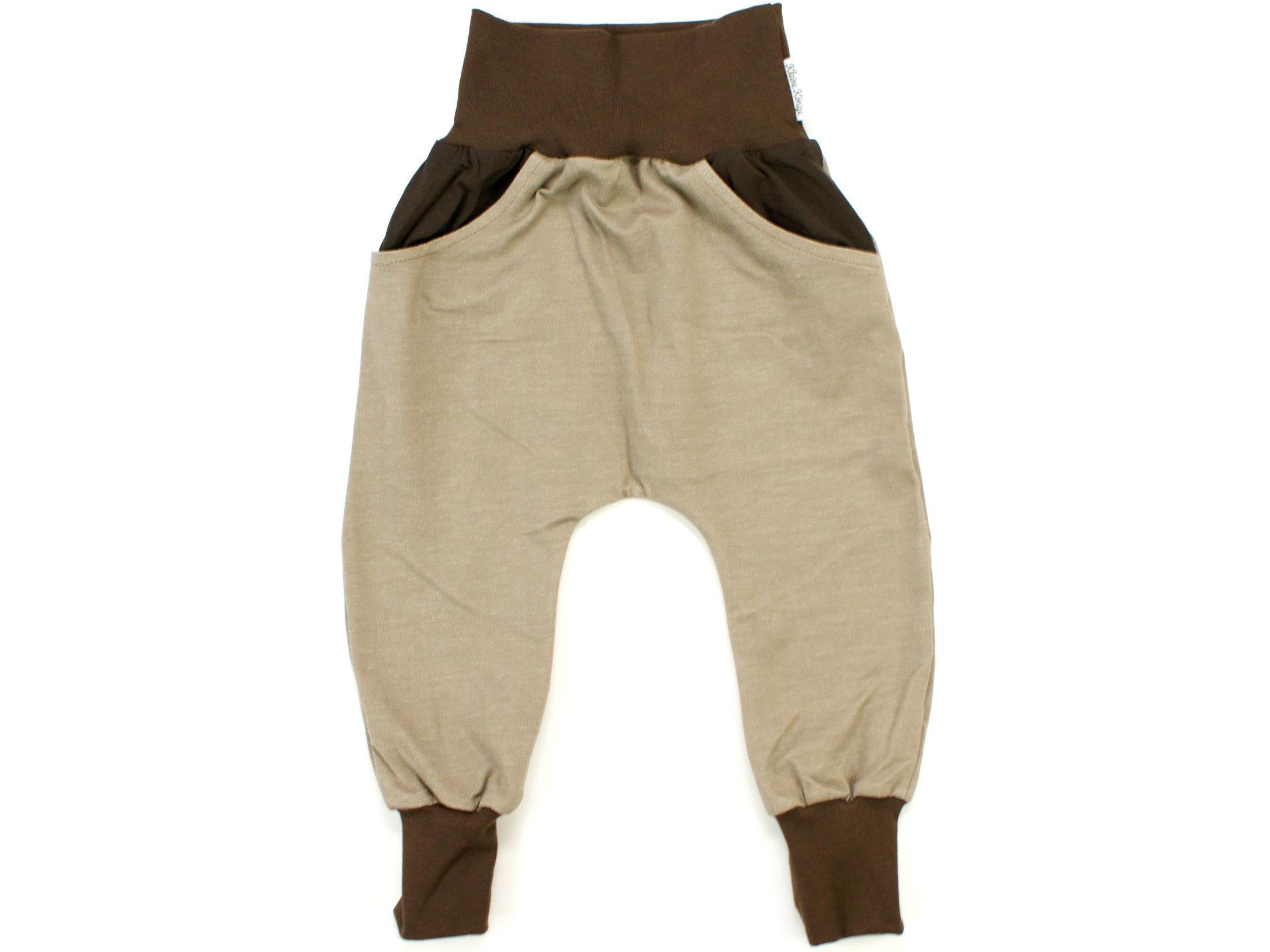 Kinderhose mit Taschen Jeansjersey beigebraun
