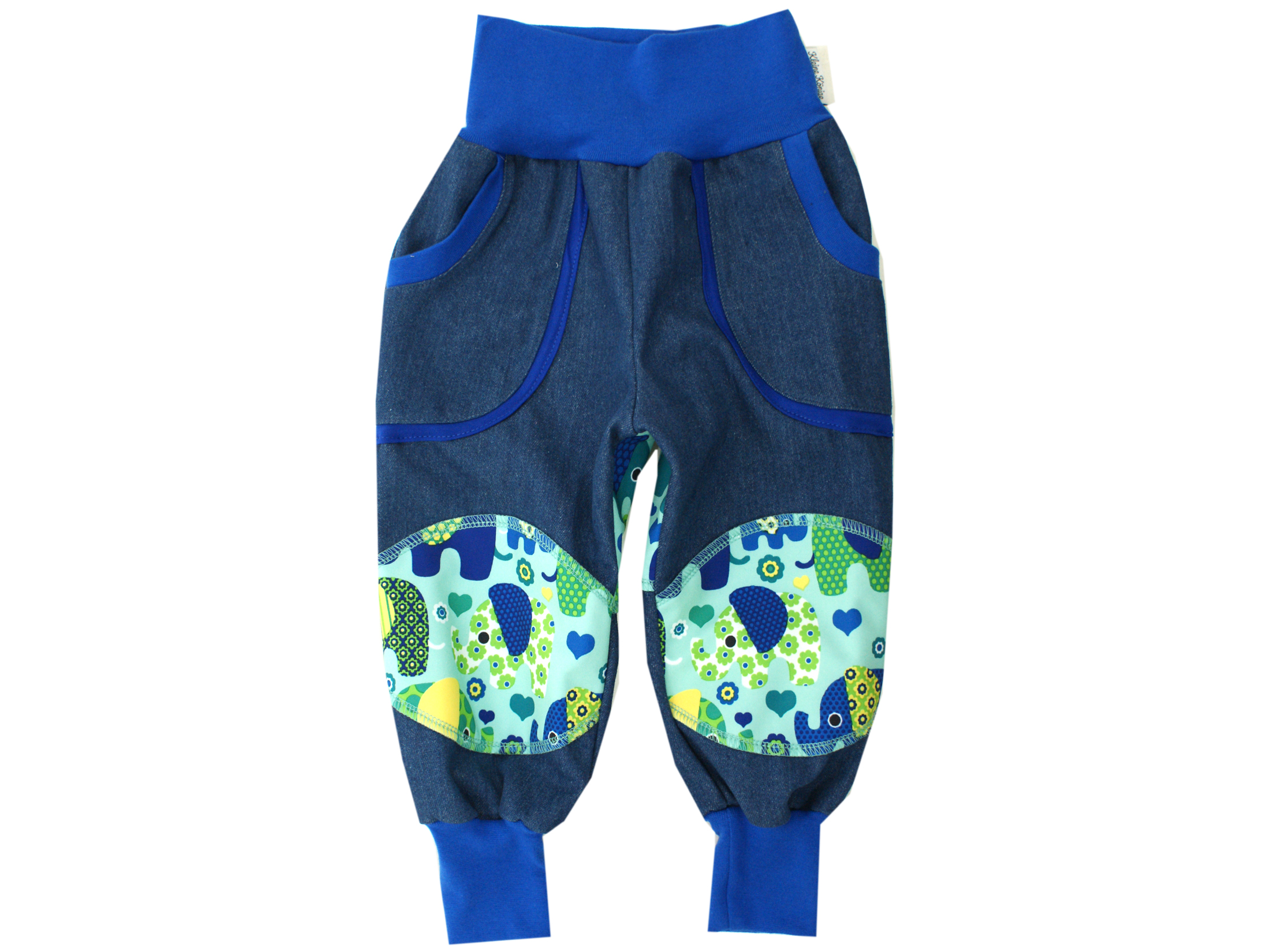 "Kinder Outdoorhose Jeans Räuberhose ""Elefantenparty"" blau türkis"