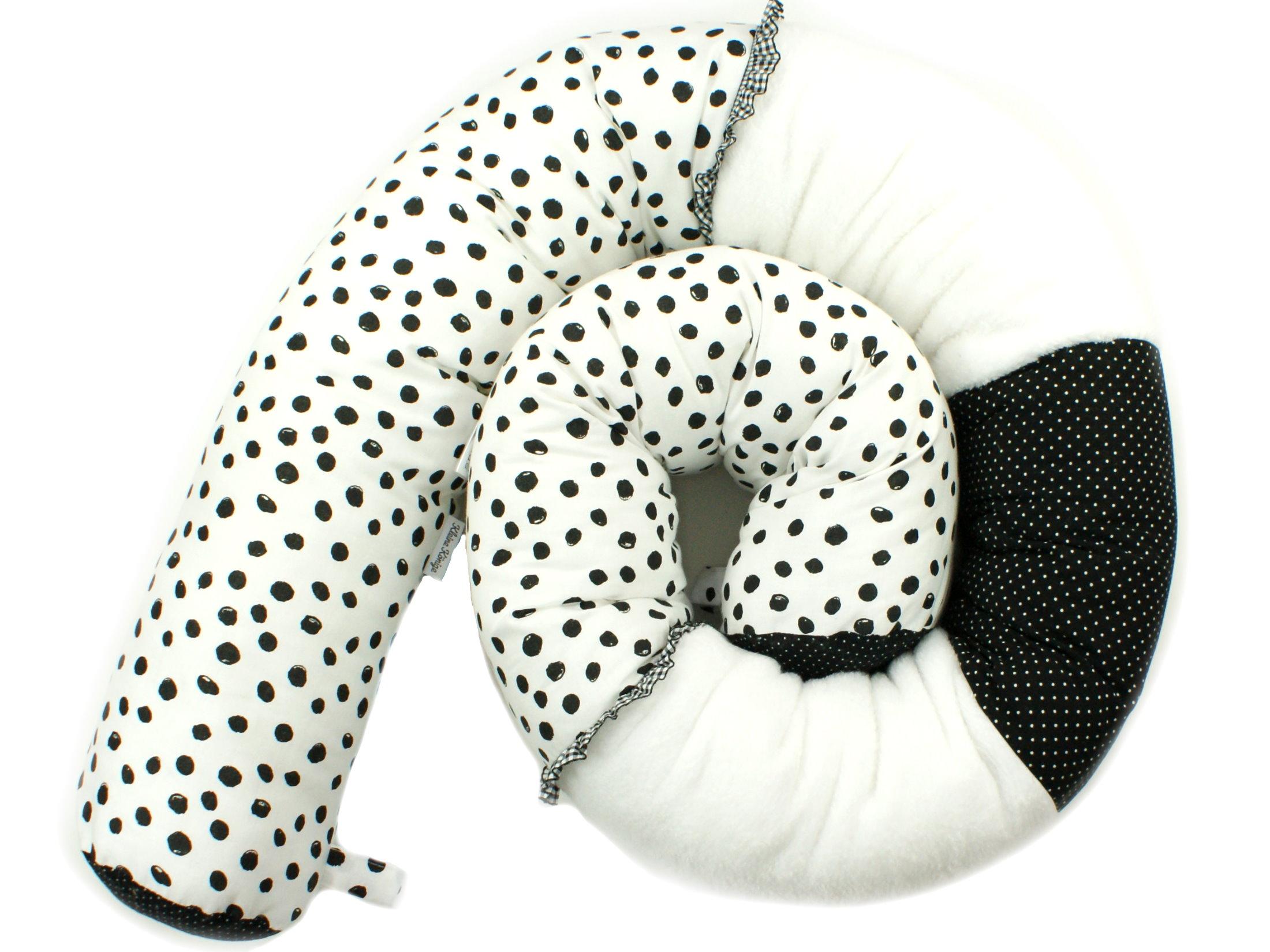 """Baby Bettschlange Nestchen """"Punkte"""" schwarz weiß"""