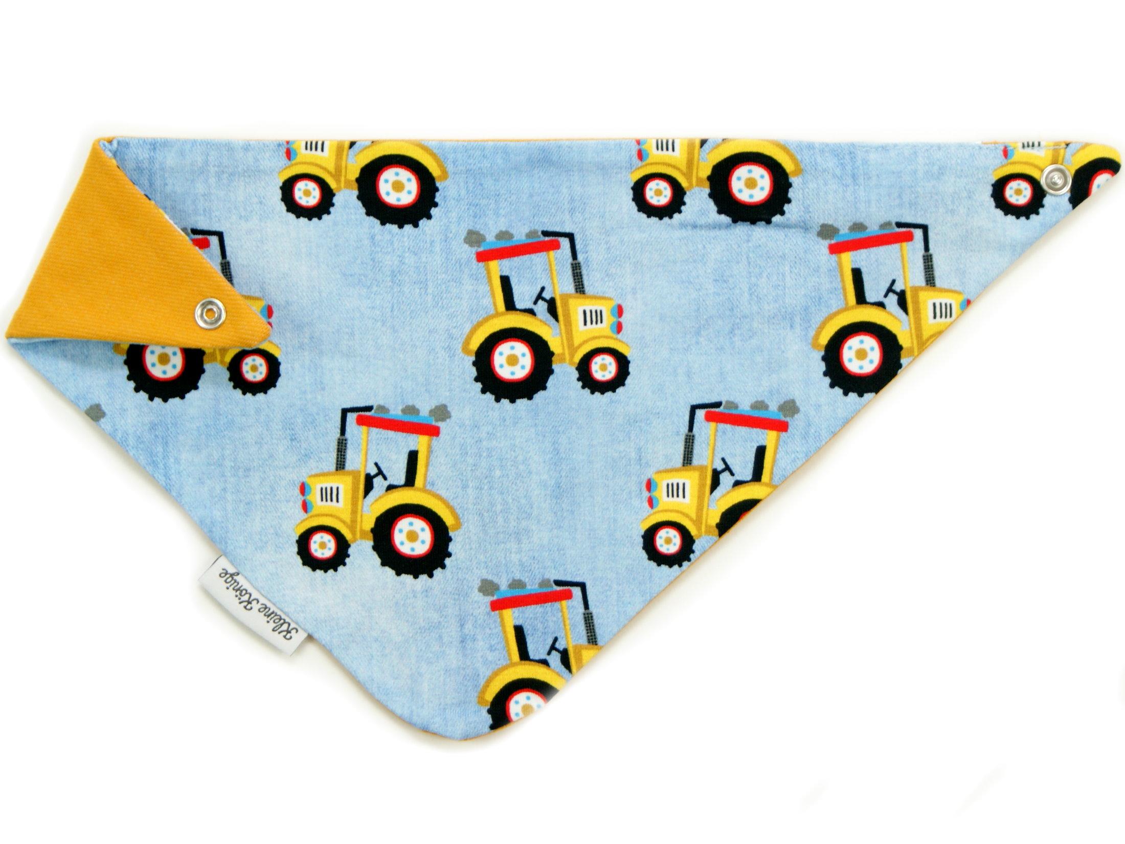 "Baby Wende-Halstuch ""Gelber Traktor"" hellblau"