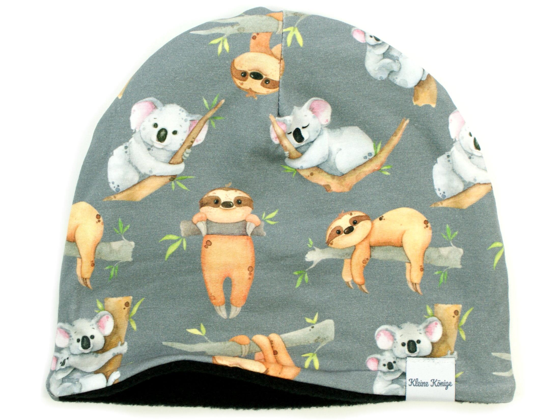 """Kindermütze Beanie """"Koala & Faultier"""" grau"""