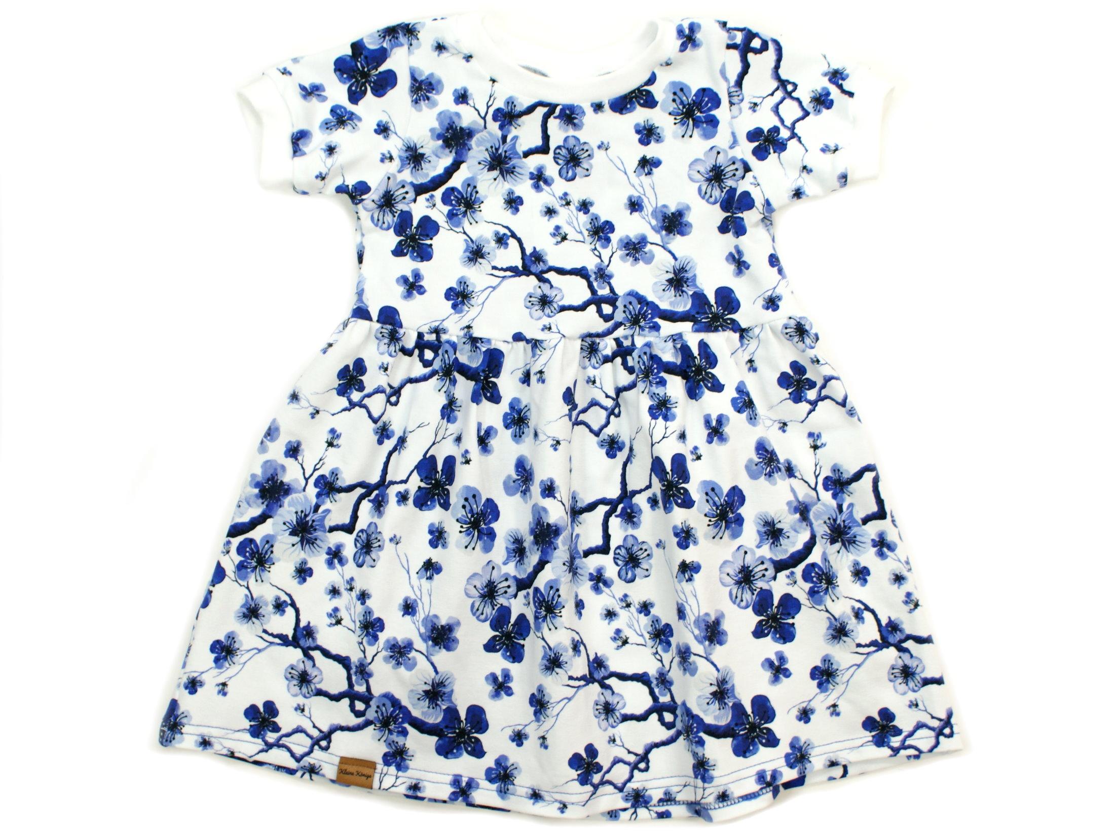 """Kinder T-Shirt Blumen """"Blue Flowers"""" blau weiß"""