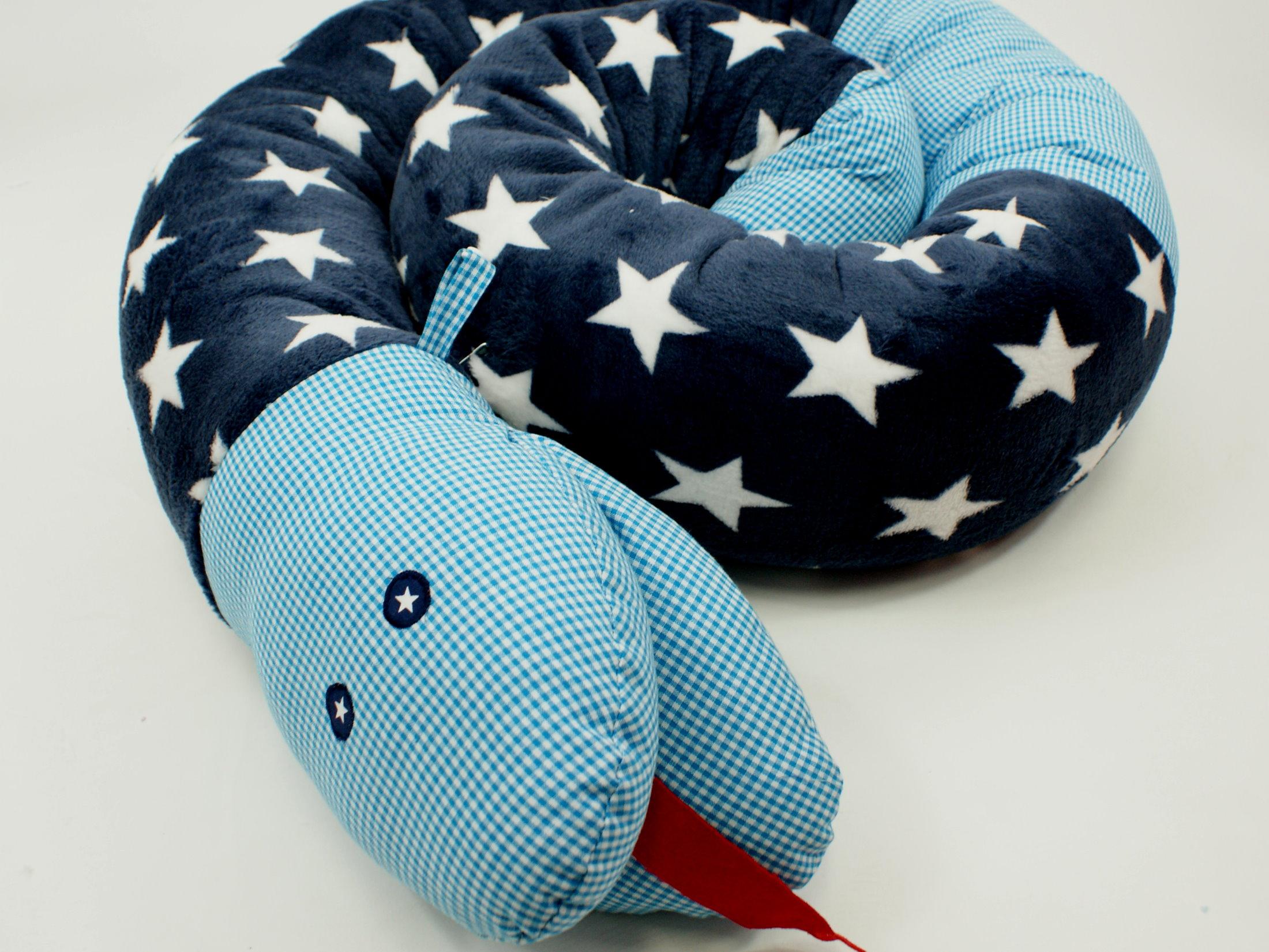 """Baby Bettschlange Nestchen """"Schlange"""" Sterne marineblau"""