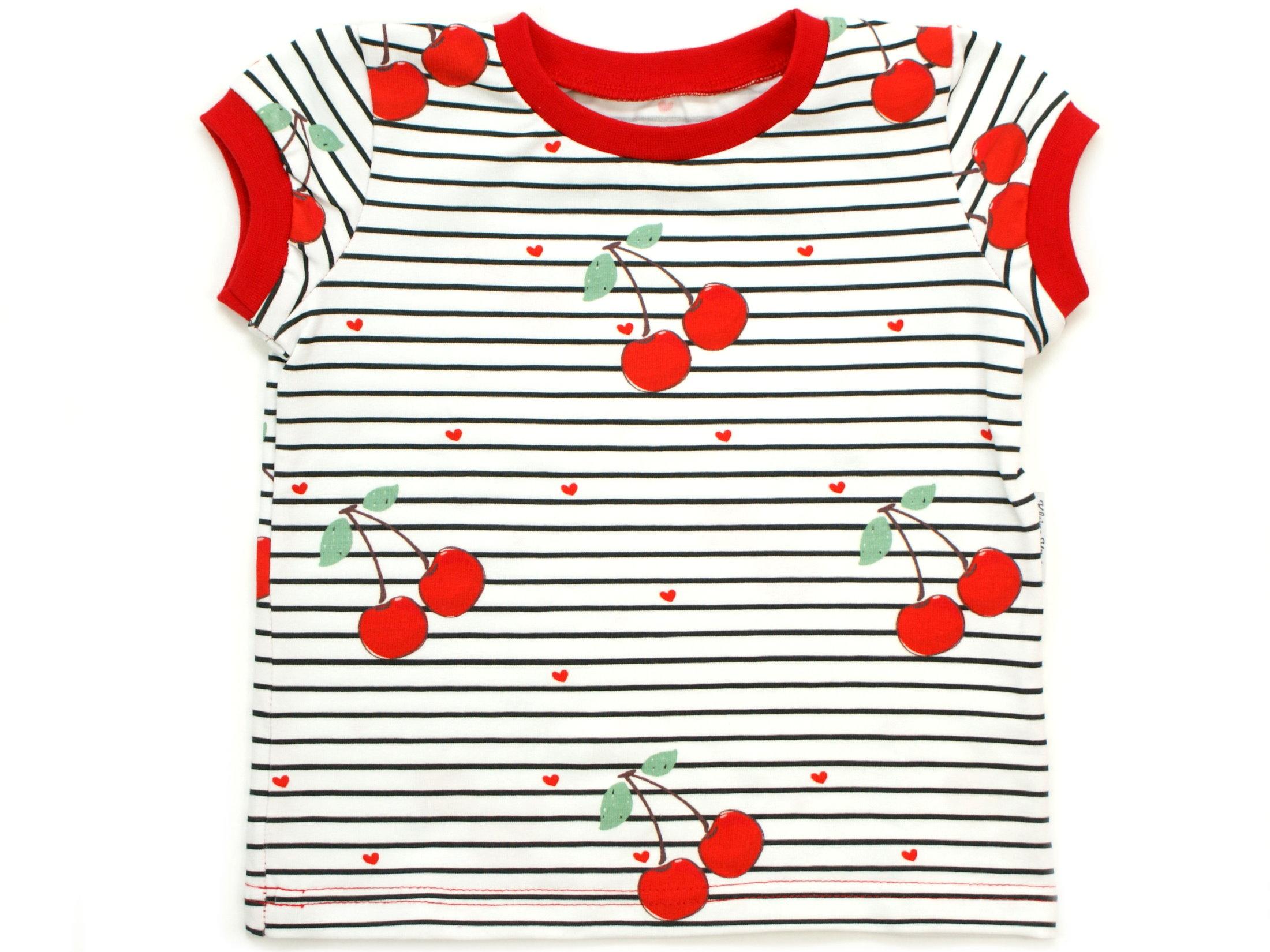 """Kinder T-Shirt Kirschen """"Cherry"""" Allover Streifen rot"""