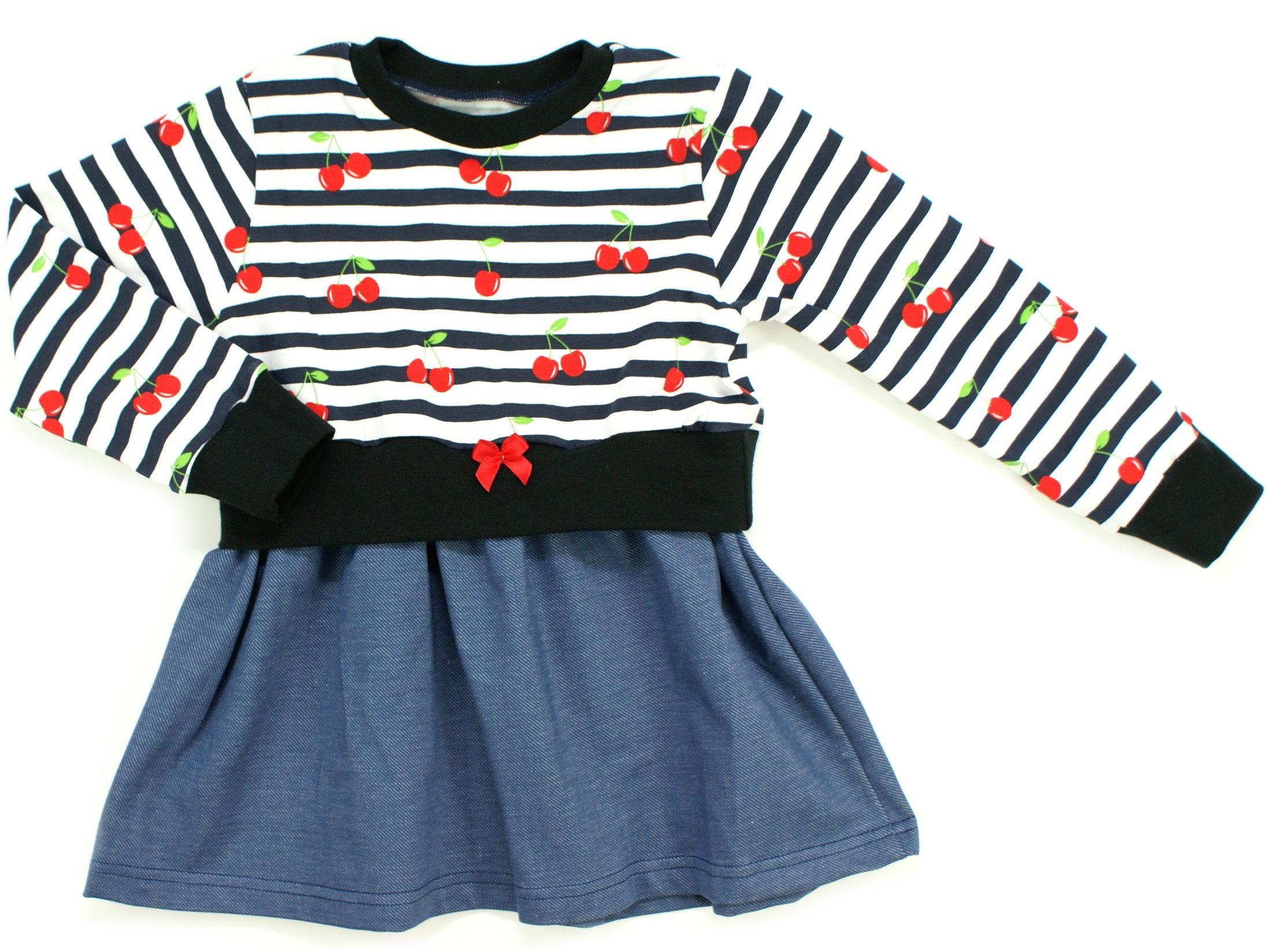 """Girly Dress Kinderkleid Kirschen """"Cherry Dream"""" marineblau weiß"""